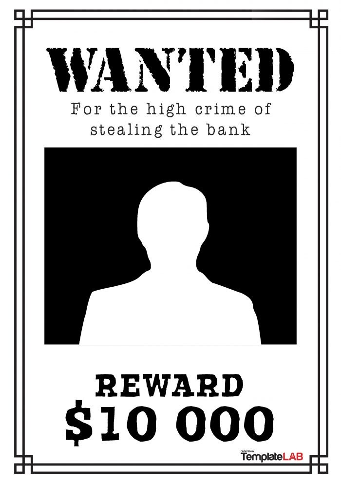 Free Black and White Wanted Poster 1 (Word) - TemplateLab Exclusive
