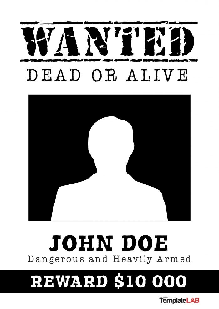 Free Black and White Wanted Poster 2 (Word) - TemplateLab Exclusive