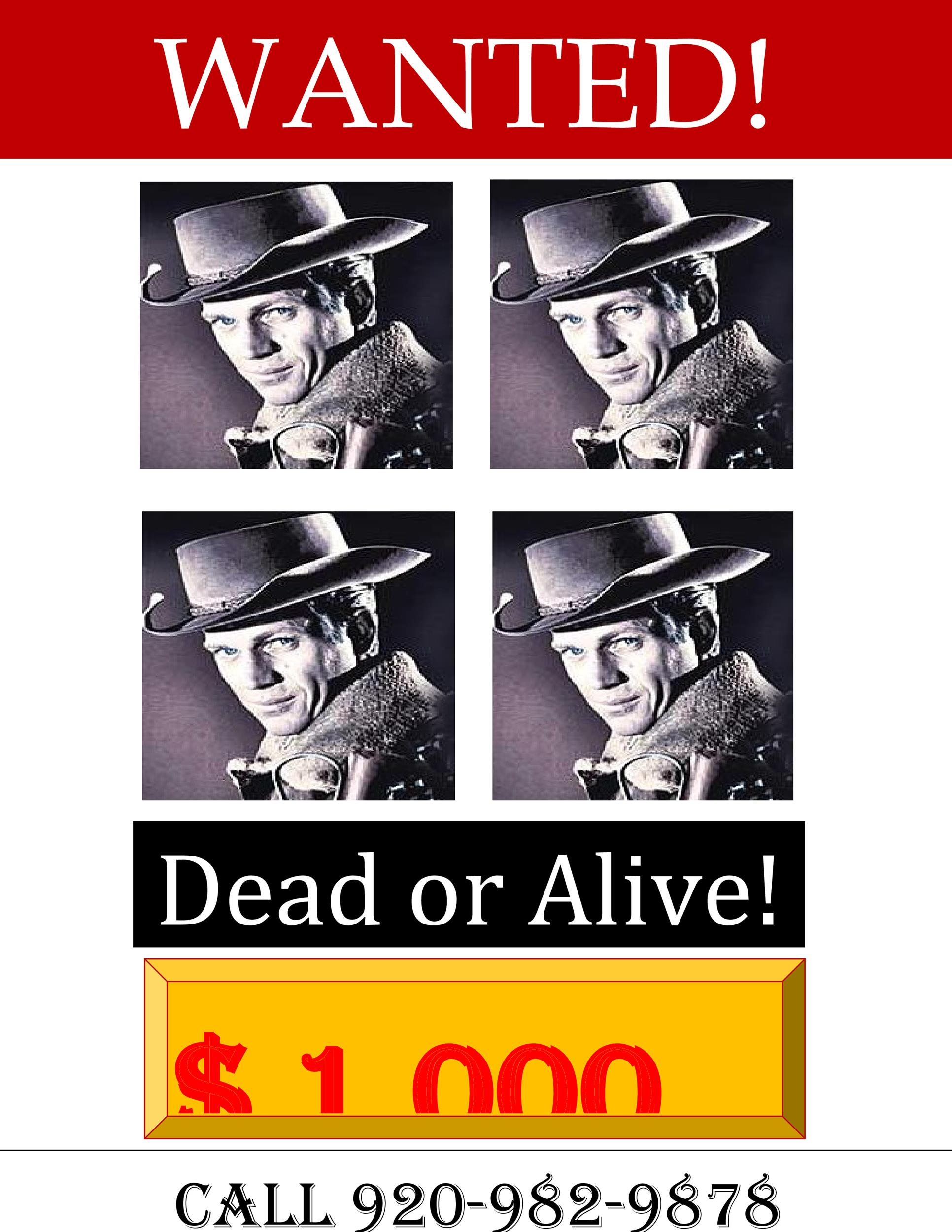 Free Dead or Alive Wanted Poster Template 01