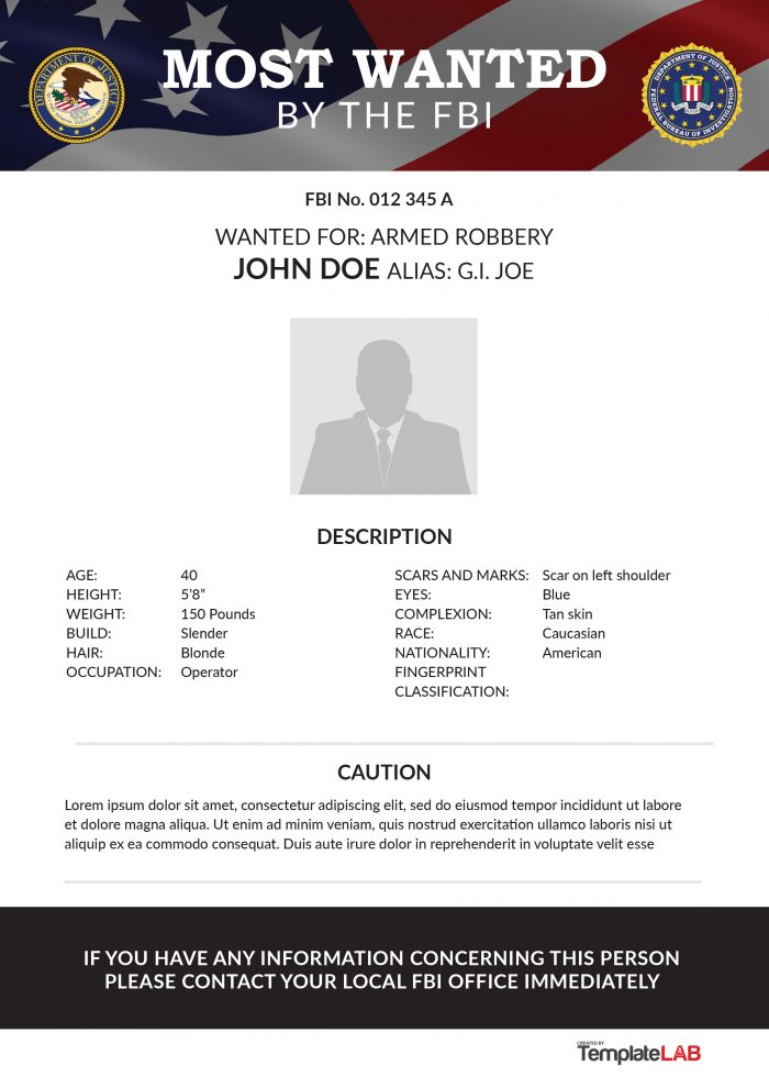 Free FBI Wanted Poster 1 (Word) - TemplateLab Exclusive