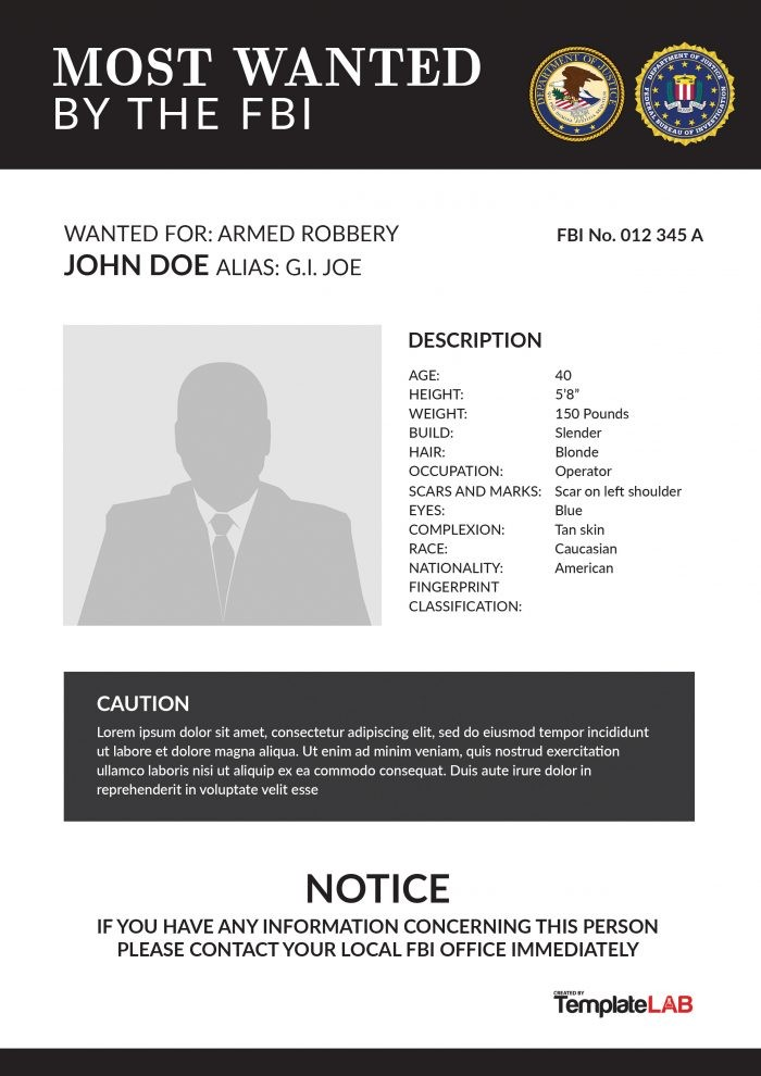 Printable FBI Wanted Poster 2 (Word)   TemplateLab Exclusive  Most Wanted Poster Templates