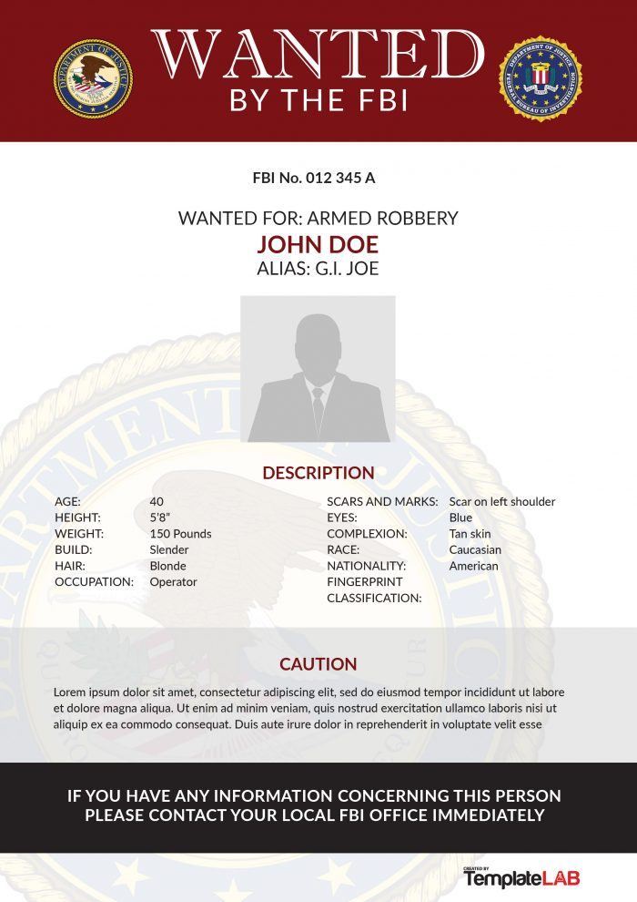 Free FBI Wanted Poster 3 (Word) - TemplateLab Exclusive