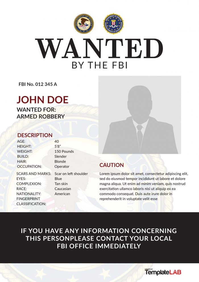 Free FBI Wanted Poster 4 (Word) - TemplateLab Exclusive
