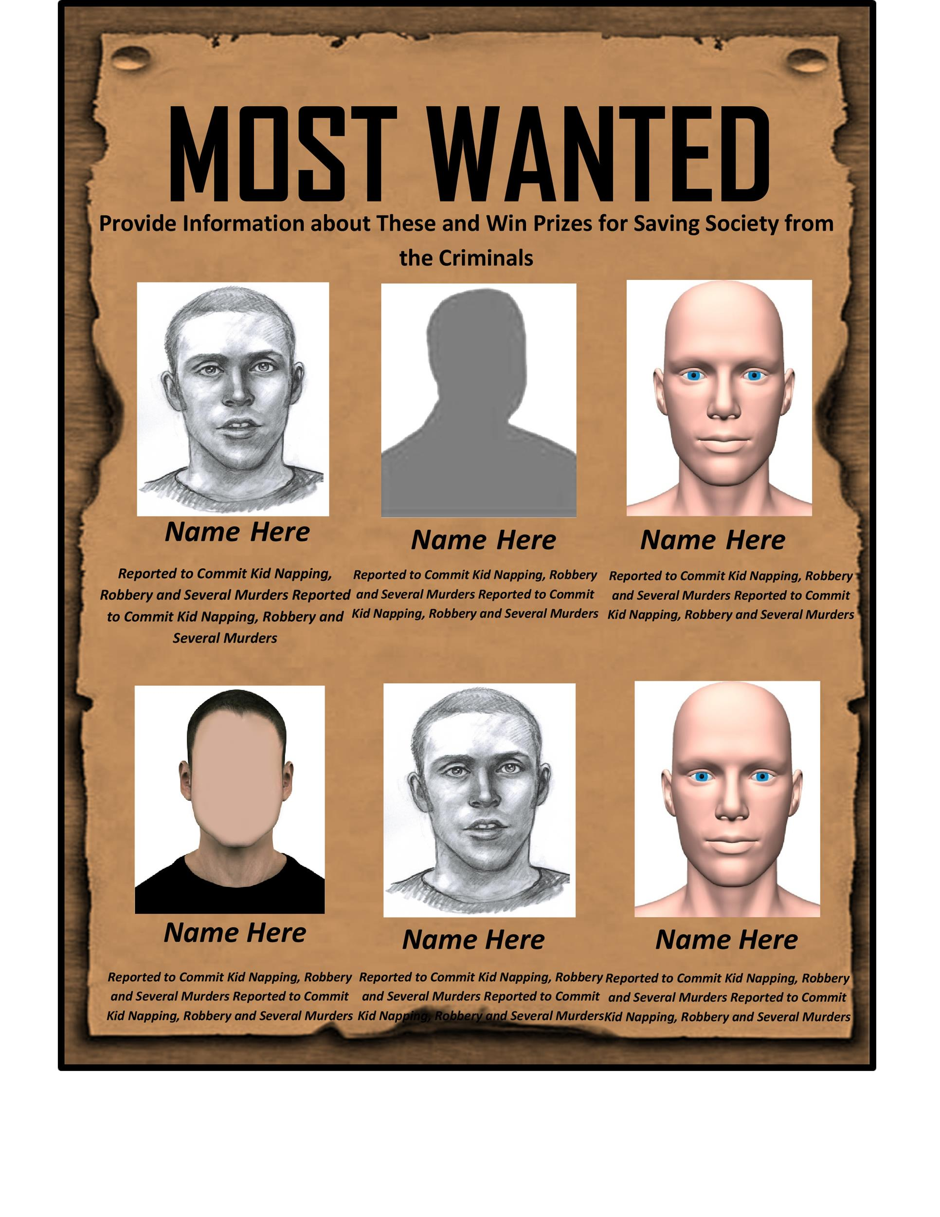 Printable Most Wanted Poster Template 01  Most Wanted Sign Template