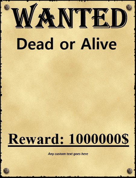 Good Printable Old West Wanted Poster Template  Missing Reward Poster Template