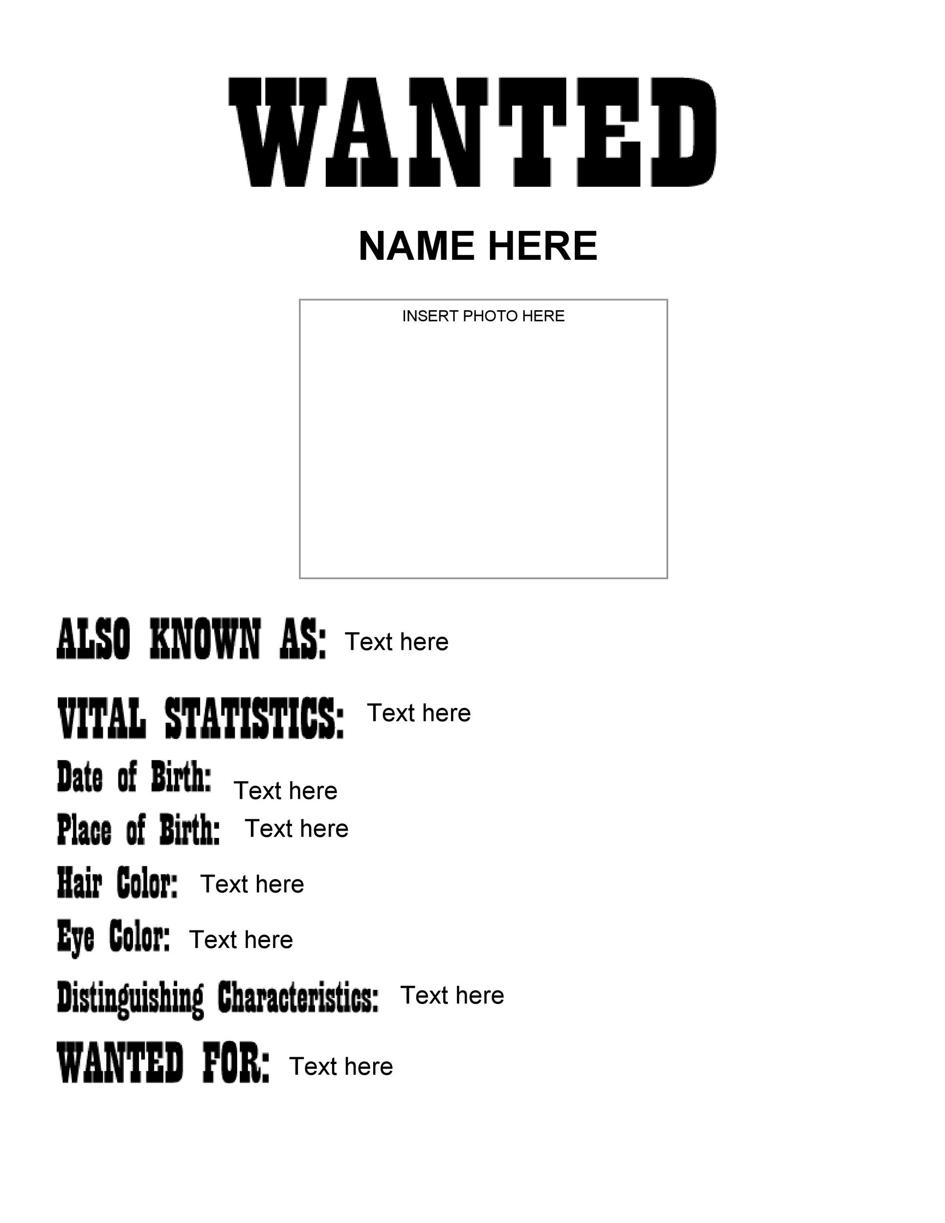 Printable Old West Most Wanted Poster 01  Printable Wanted Poster Template
