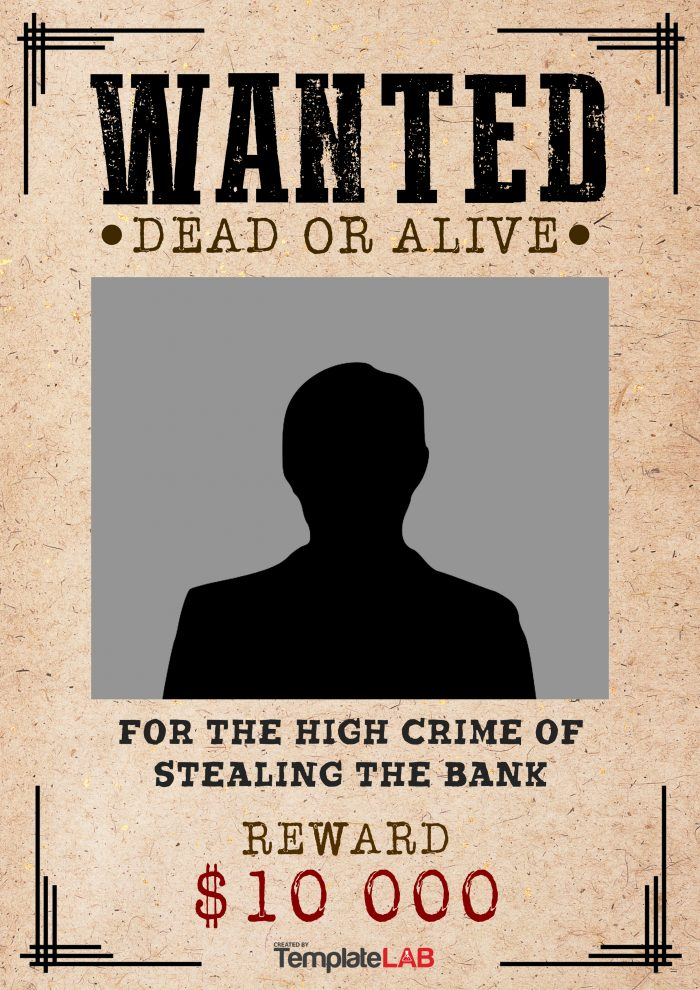 Free Wanted Dead or Alive Template 4 (Word) - TemplateLab Exclusive