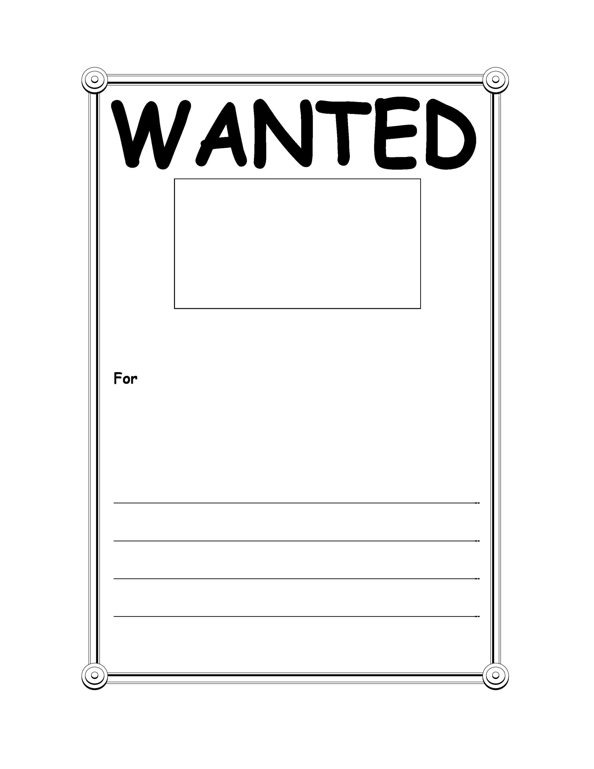 Printable Wanted Poster Template 03  Free Printable Wanted Poster
