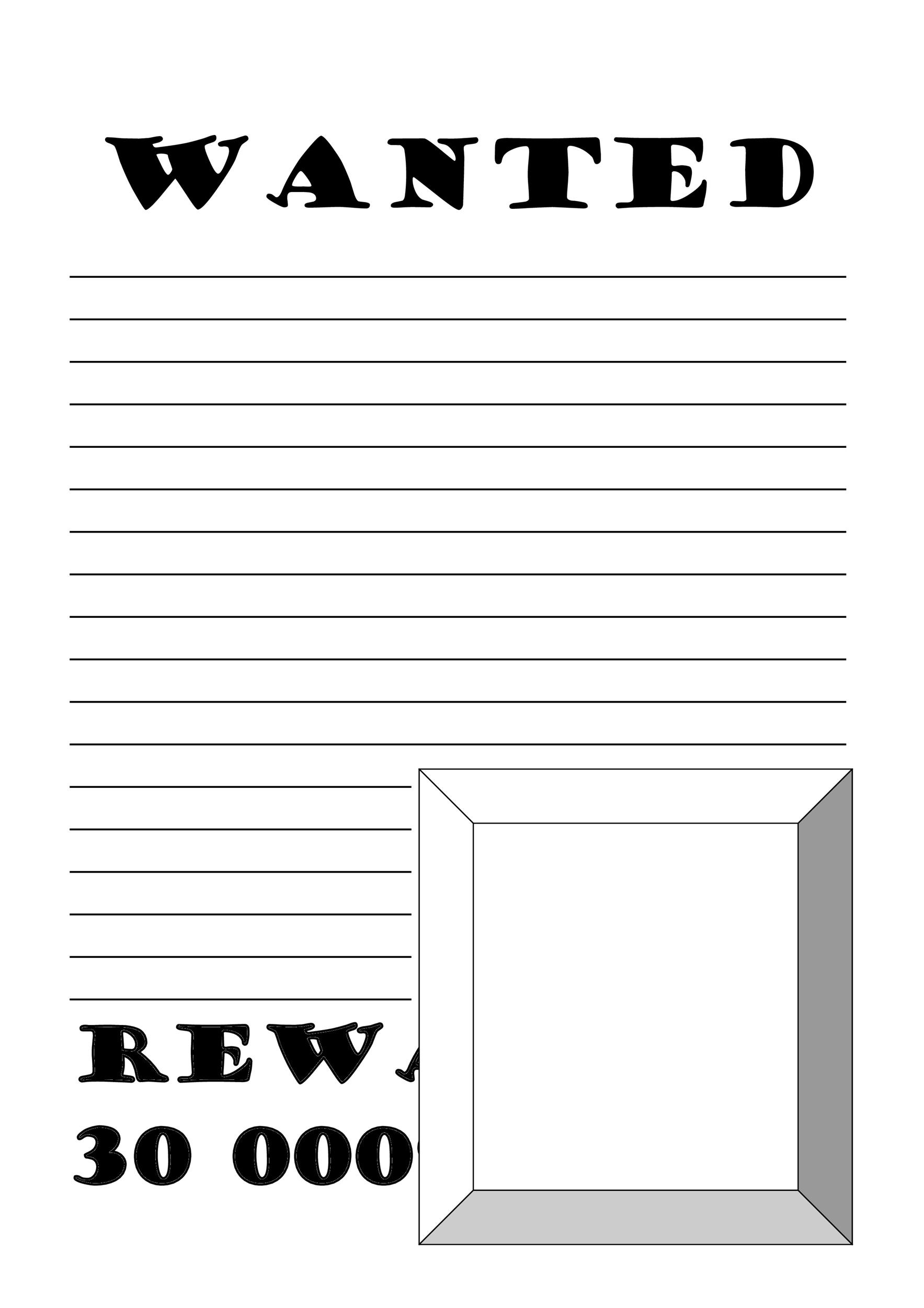 Printable Wanted Poster Template 01  Printable Wanted Poster Template
