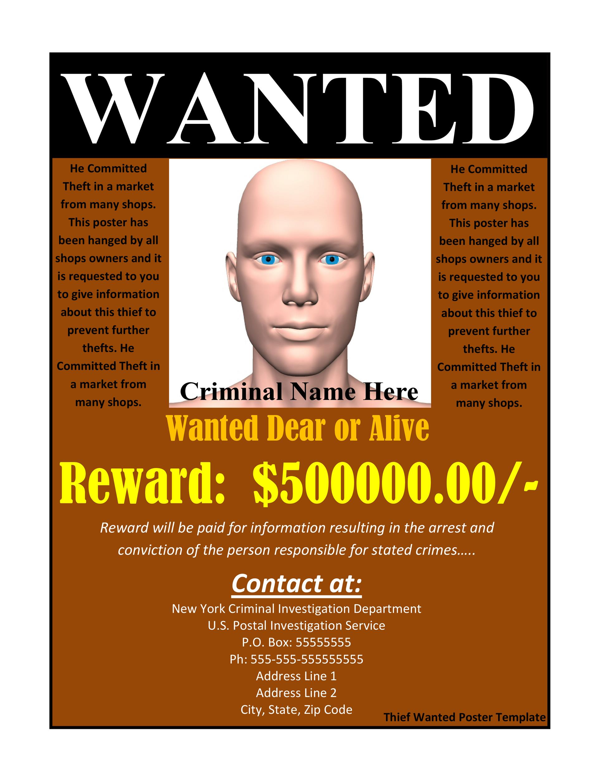 Printable Wanted Poster Template 02  Most Wanted Sign Template