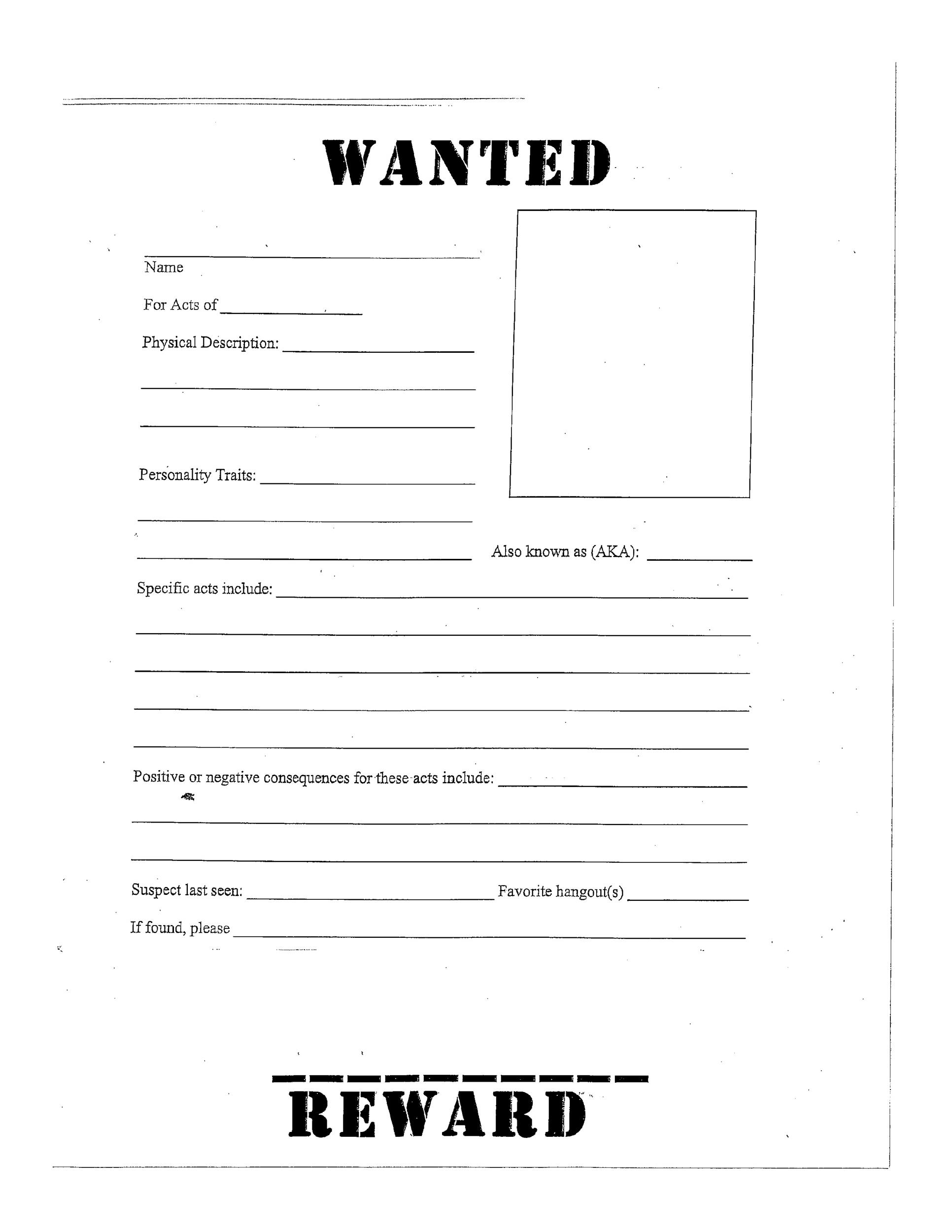 photograph about Printable Wanted Poster known as 29 No cost Ideal Poster Templates (FBI and Aged West)