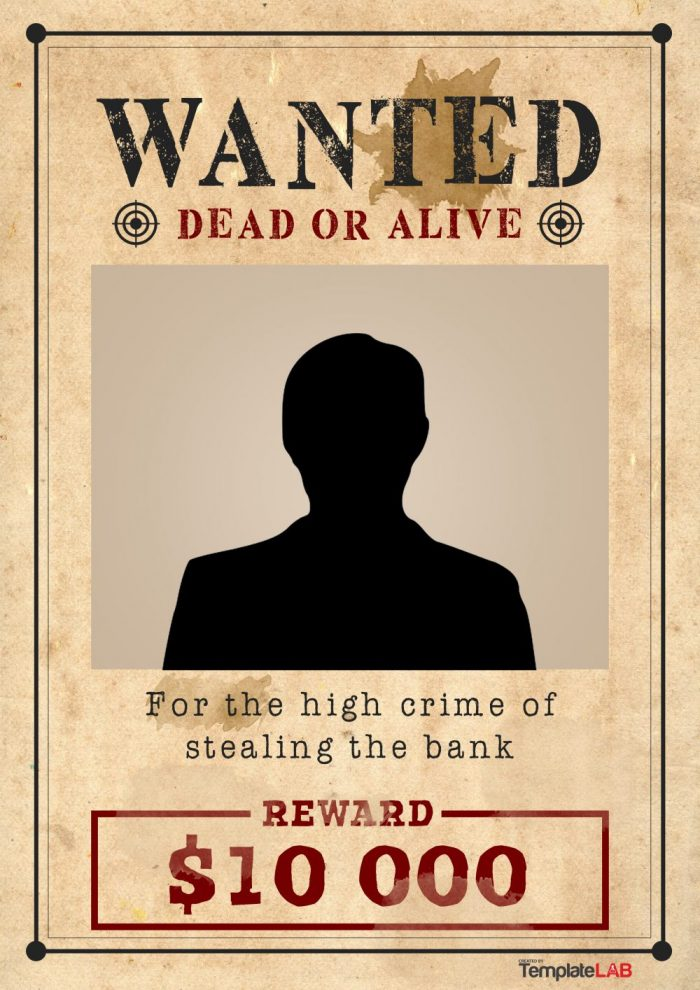 Printable Western Wanted Poster Template 1 (Word)   TemplateLab Exclusive  Printable Wanted Posters