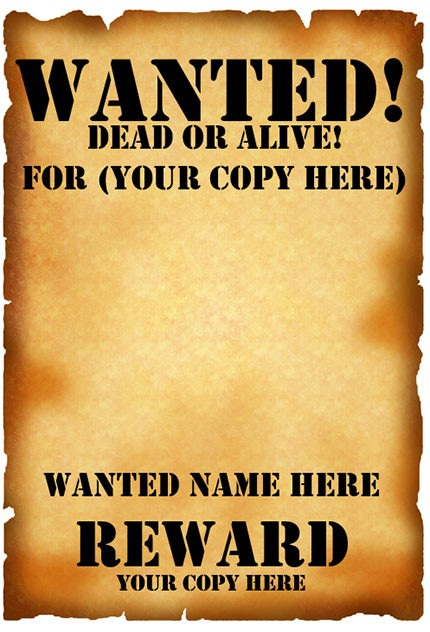 Printable Download Wanted Poster Template For Word 2007 Or Later  Printable Wanted Poster Template