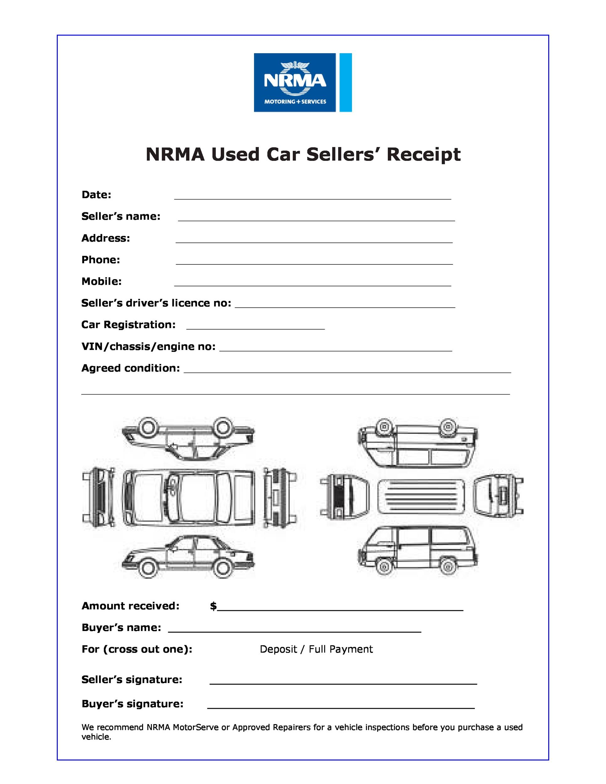 Printable Car Sales Receipt Template  Purchase Receipt Template Free