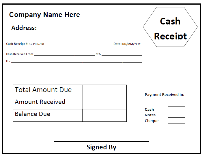 Printable Cash Receipt Template  Cheque Received Receipt Format