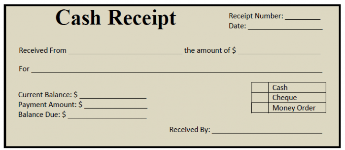 Printable Cash Receipt Template 02  Blank Reciept