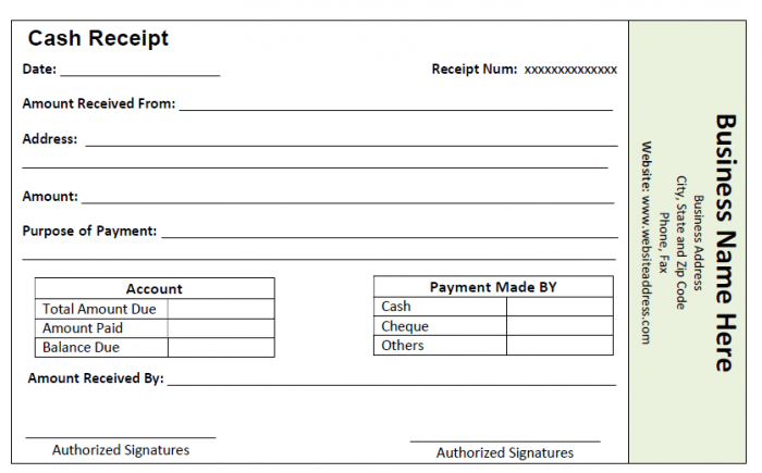 Printable Cash Receipt Template 03  Printable Cash Receipt Template