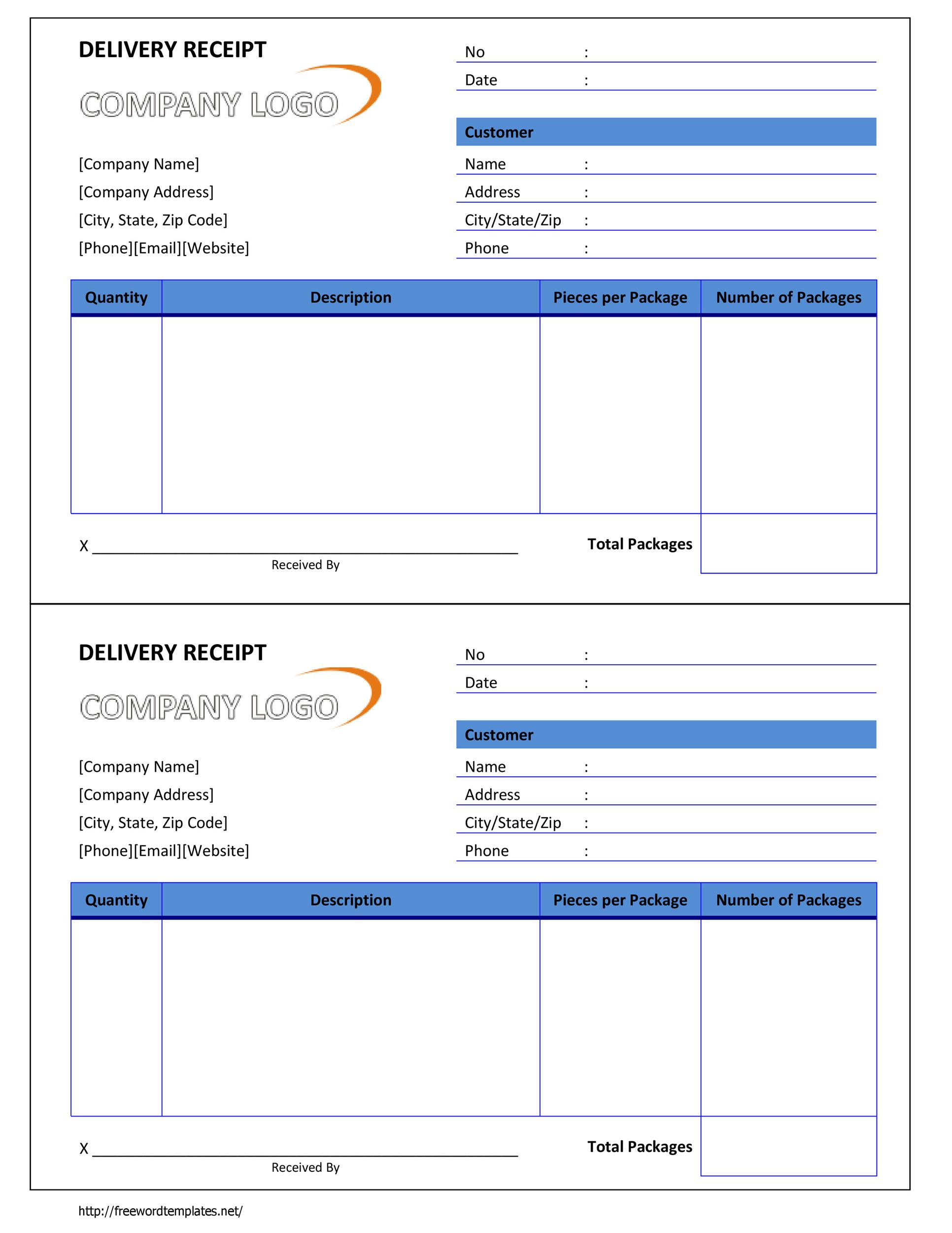 Free Delivery Receipt Template Word