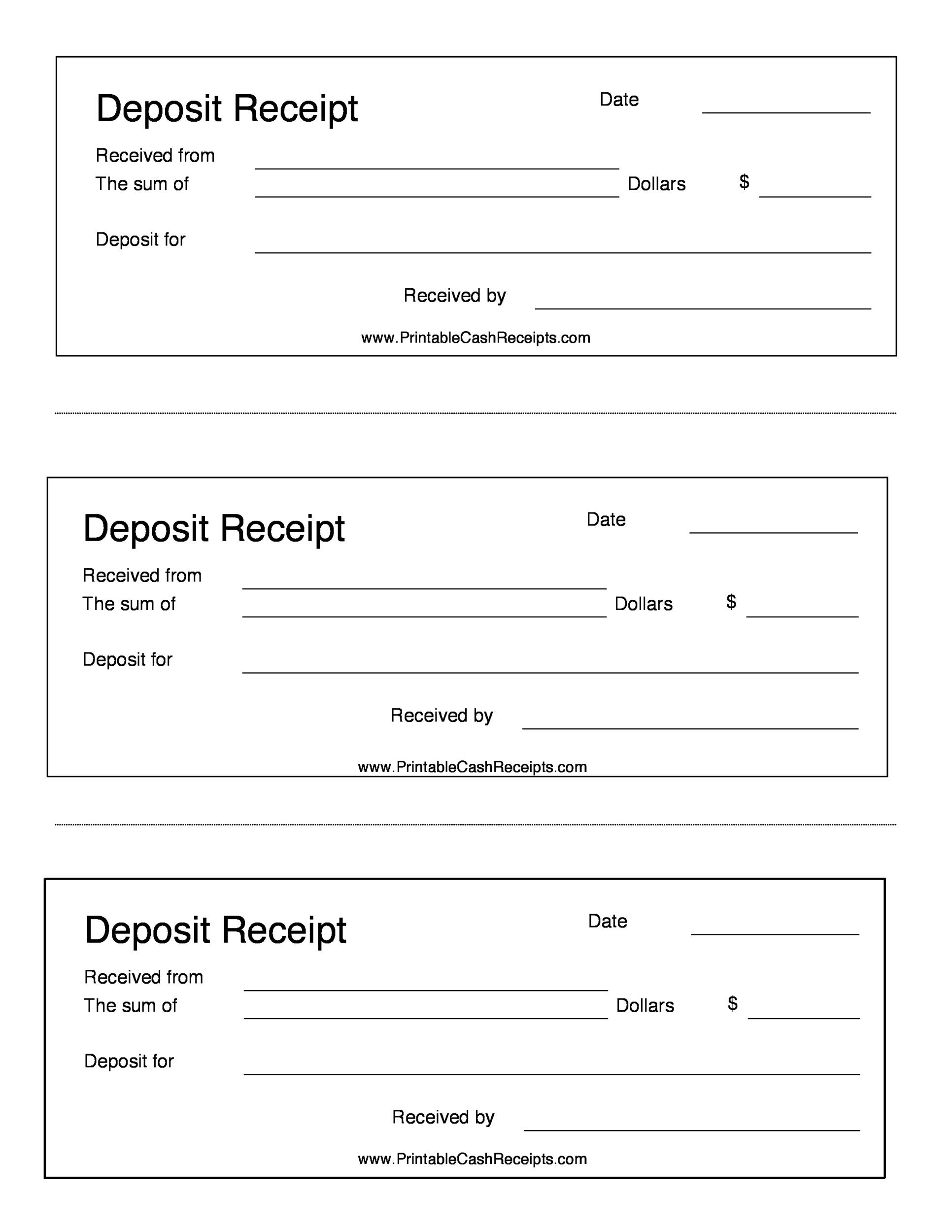 Printable Deposit Receipt  Free Template For Receipt Of Payment