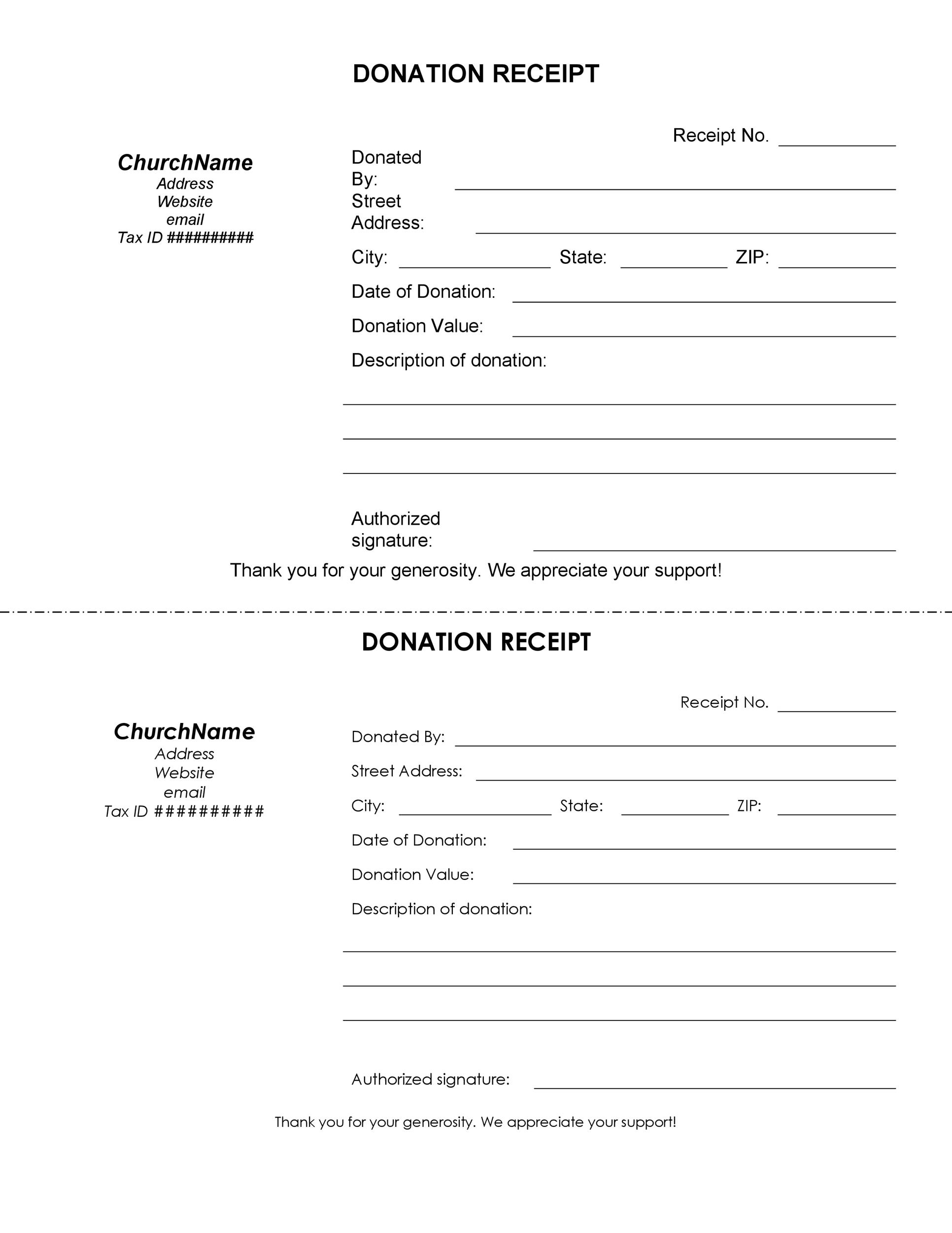 Free Receipt Templates Cash Sales Donation Taxi - Donation invoice template