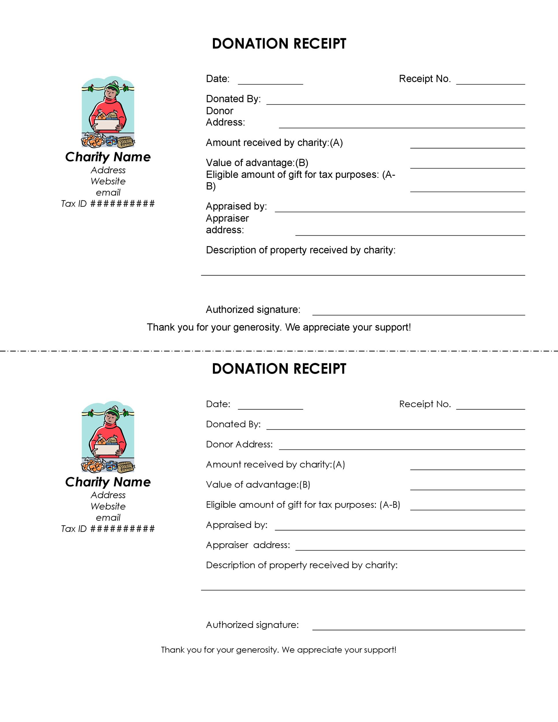 Printable Donation Receipt Template 03  E Receipts Template