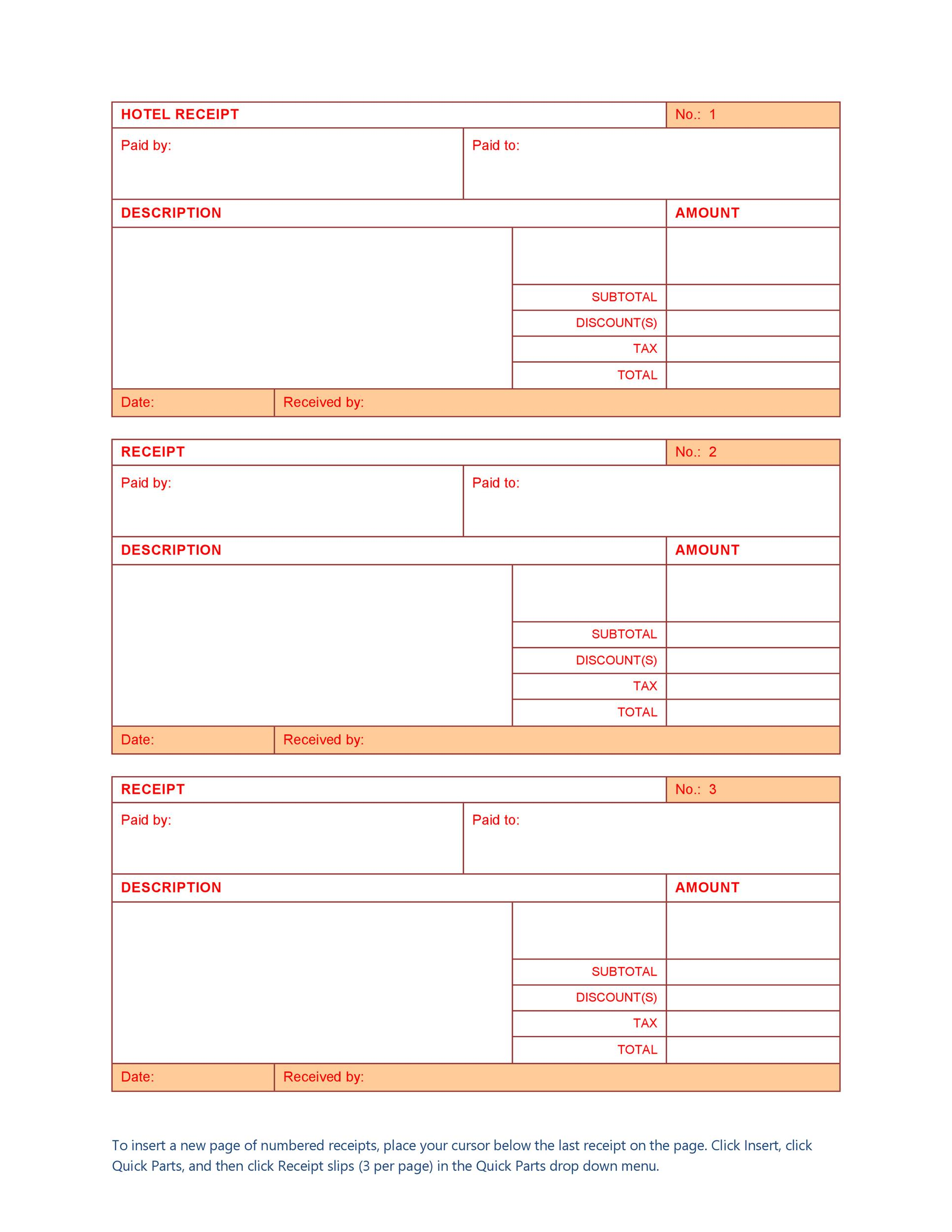 Free Hotel Receipt Template Word