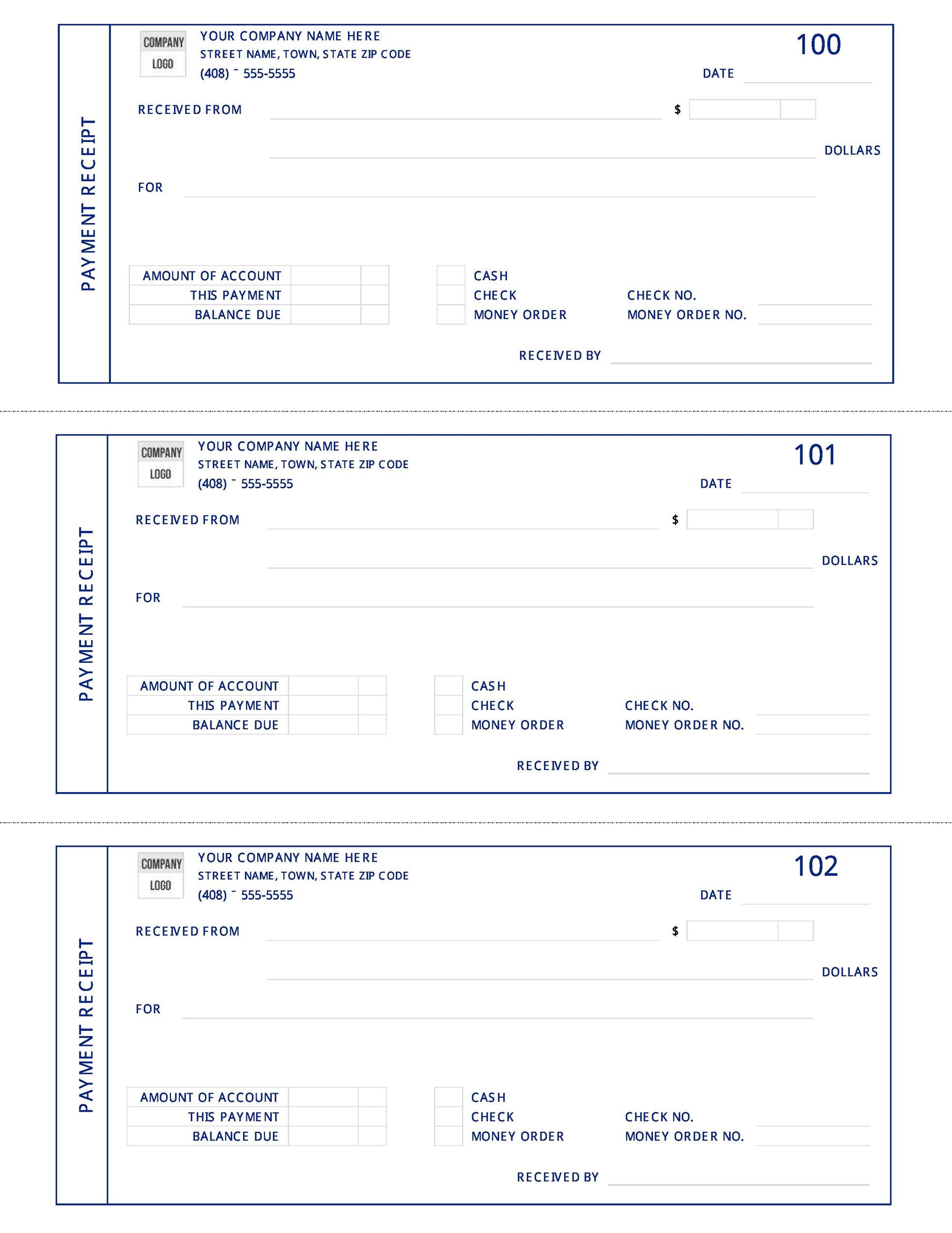 Printable Payment Receipt Template  Check Receipt Template