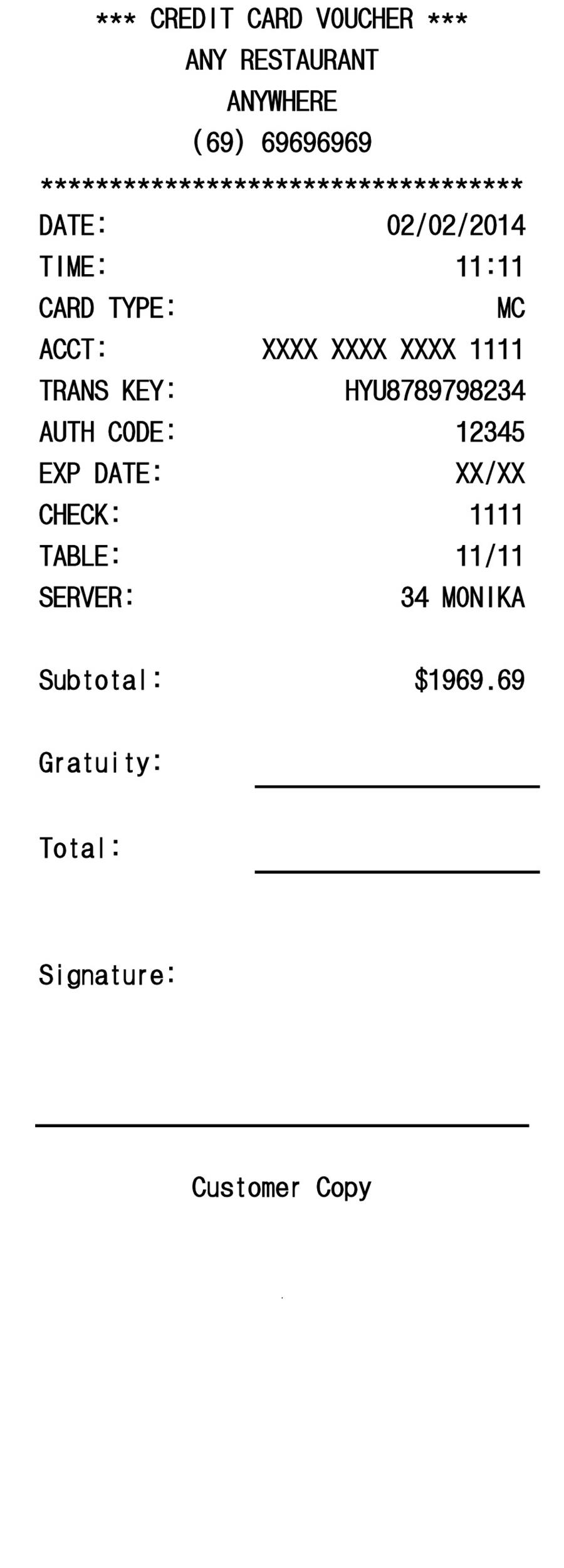 printable restaurant receipt template word - Payment Receipt Template