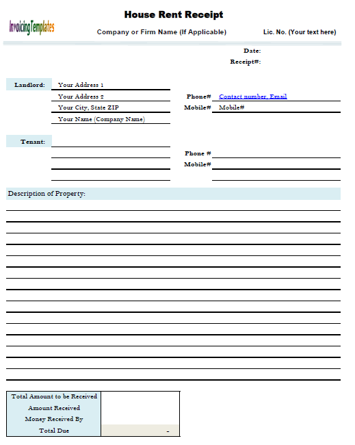 Printable Rent Receipt Template  How To Write A Receipt For Rent