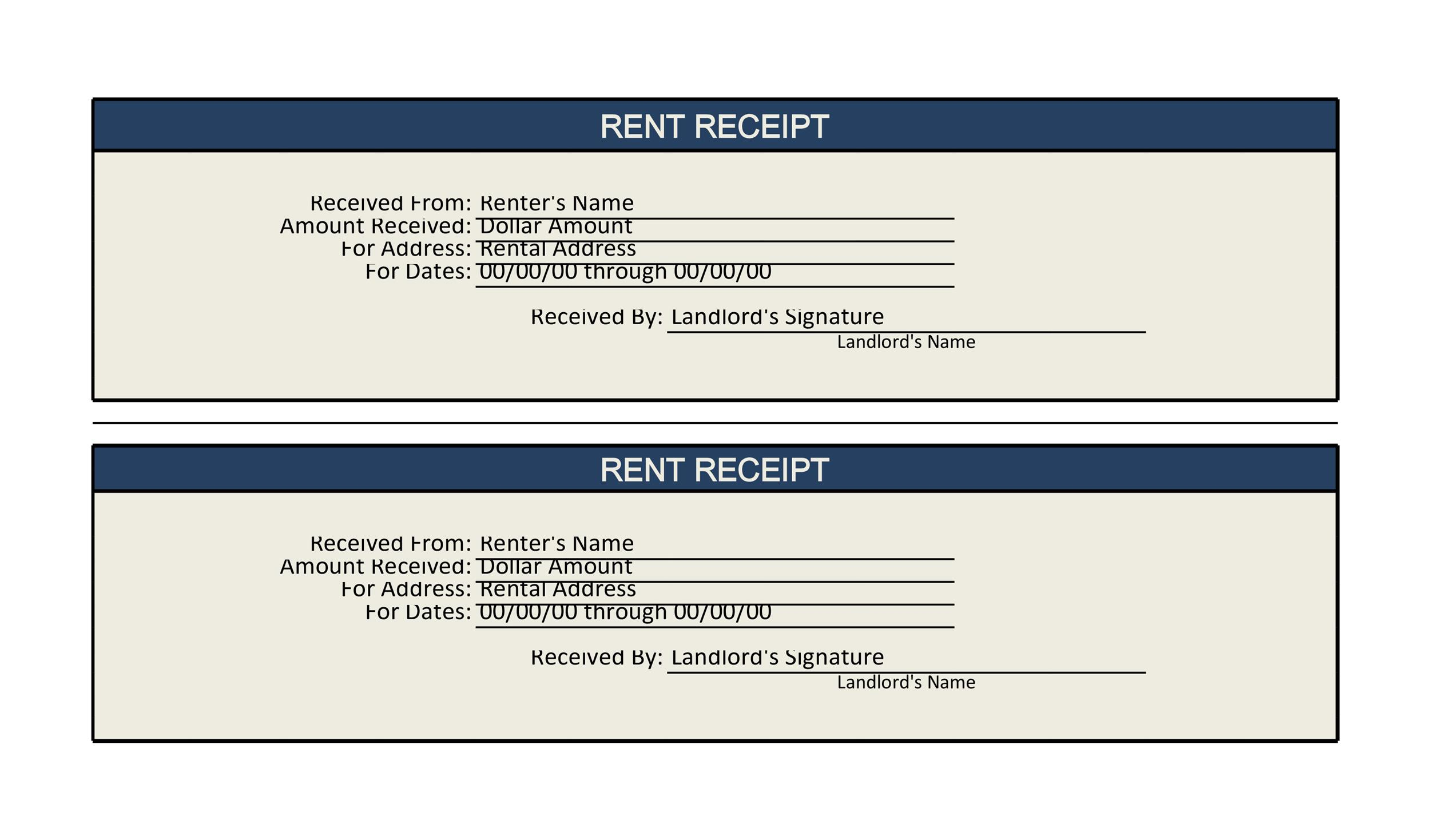 Free Rent Receipt Template Excel 02