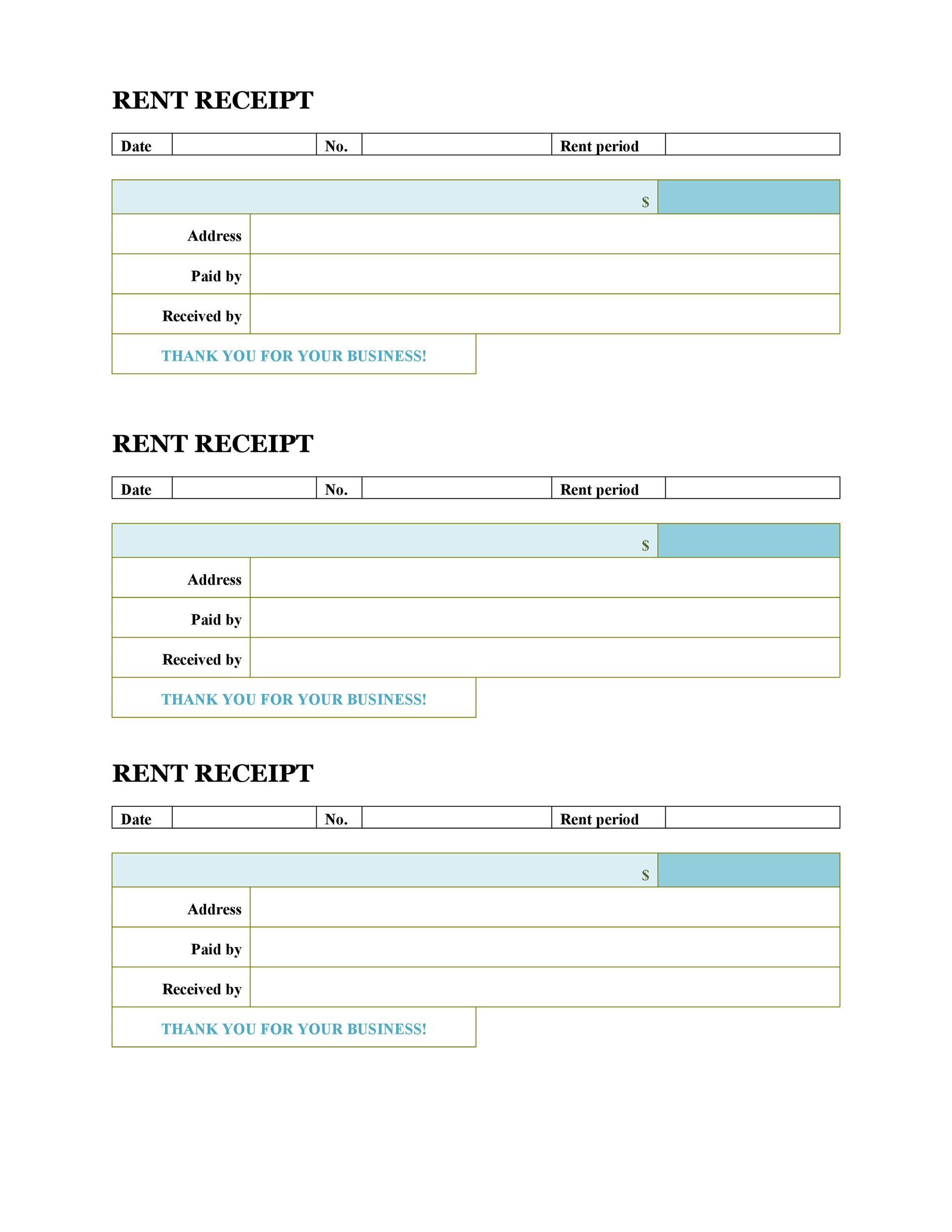 rental receipt word template