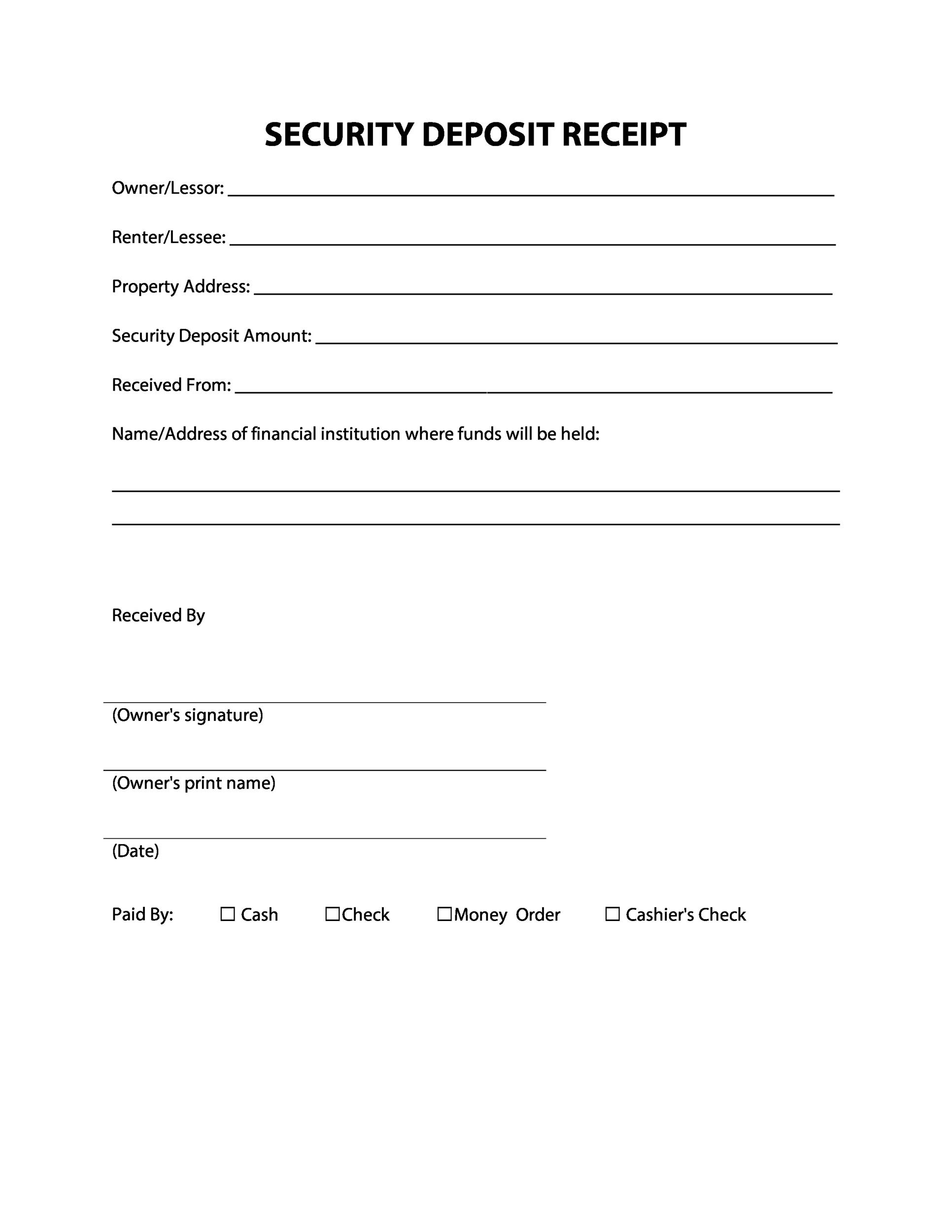 Printable Security Deposit Receipt Template  Manual Receipt Template