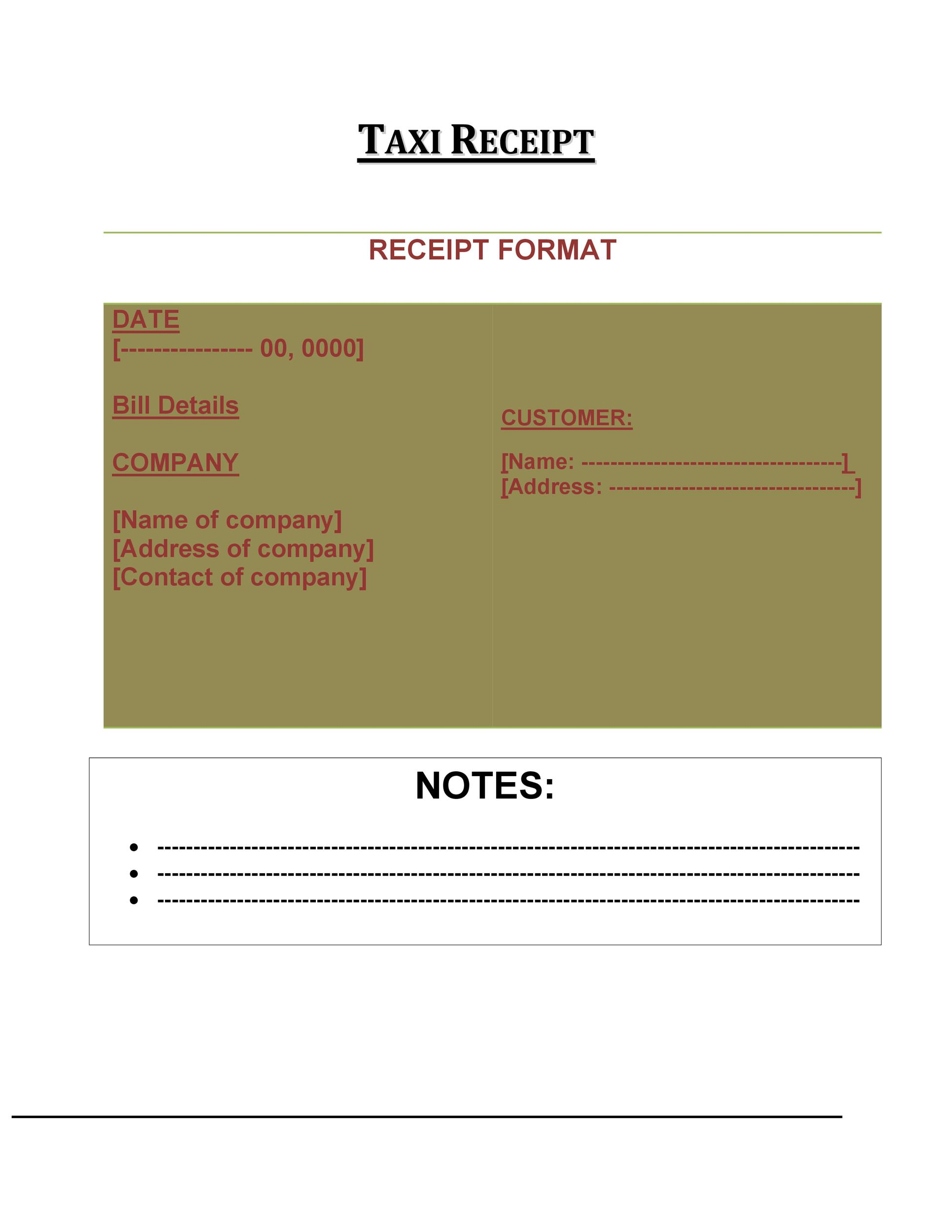 Free Taxi Receipt Template 01