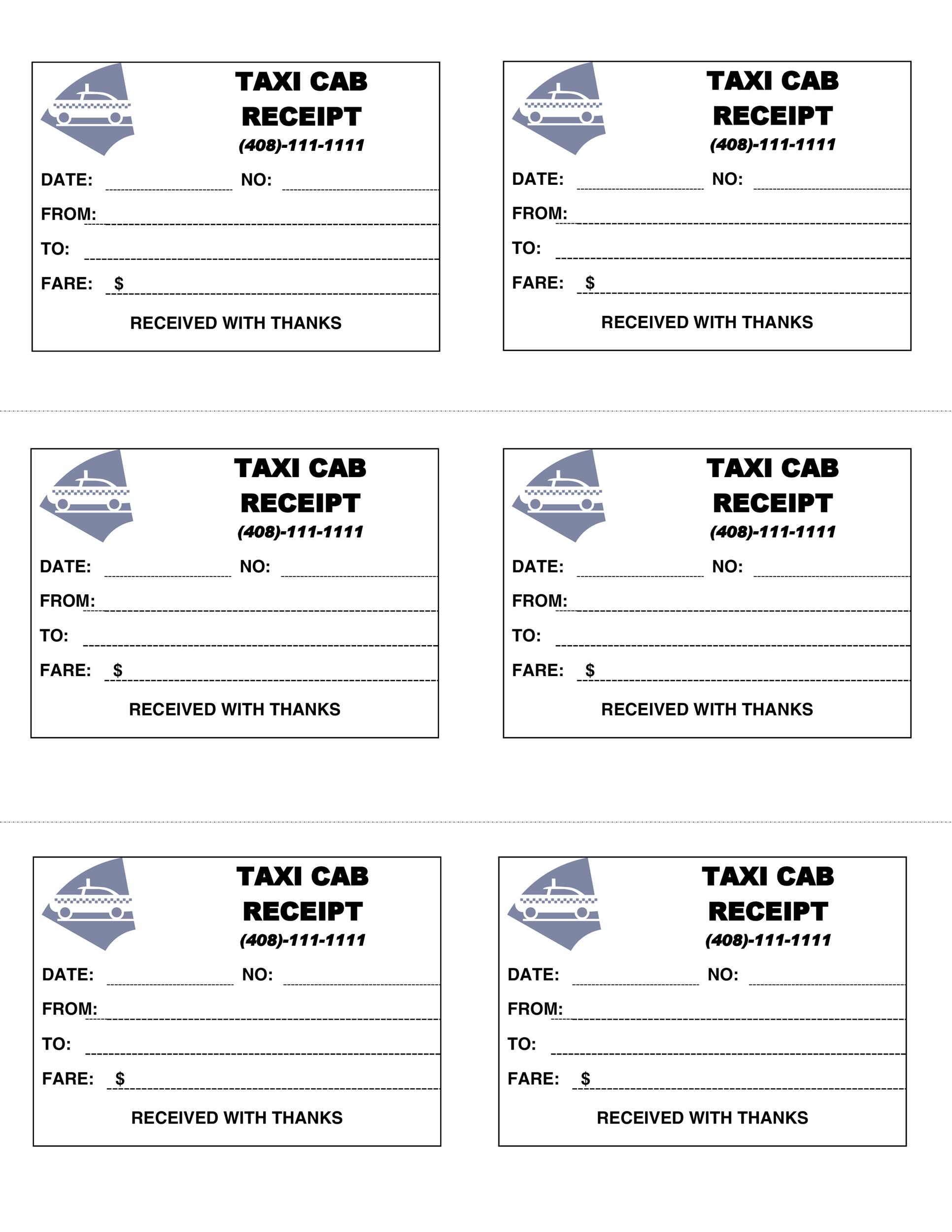 Free Taxi Receipt Template 02