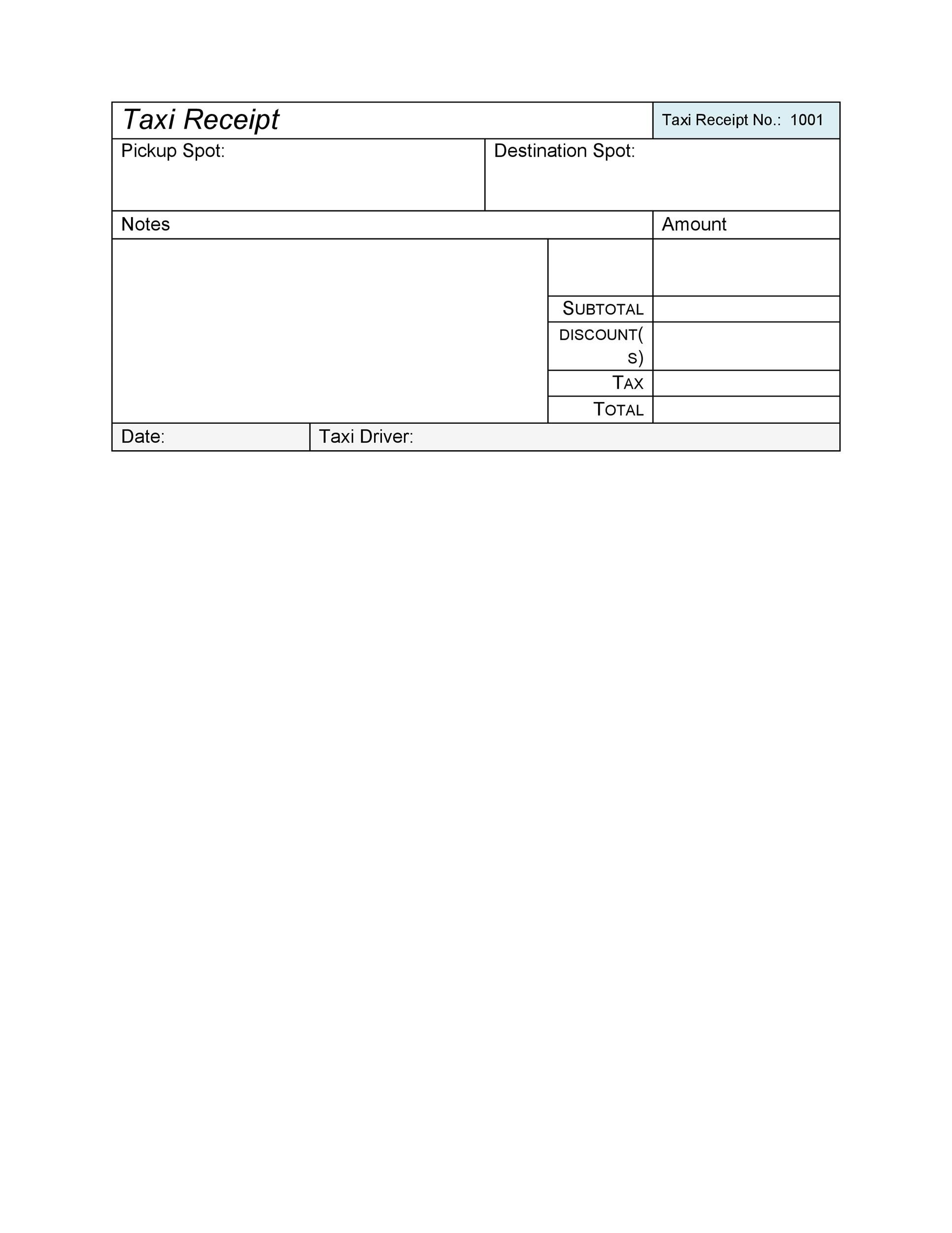 50 Free Receipt Templates Cash Sales Donation Taxi – Taxi Bill Format in Word
