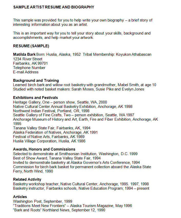 Free Artist Resume And Biography