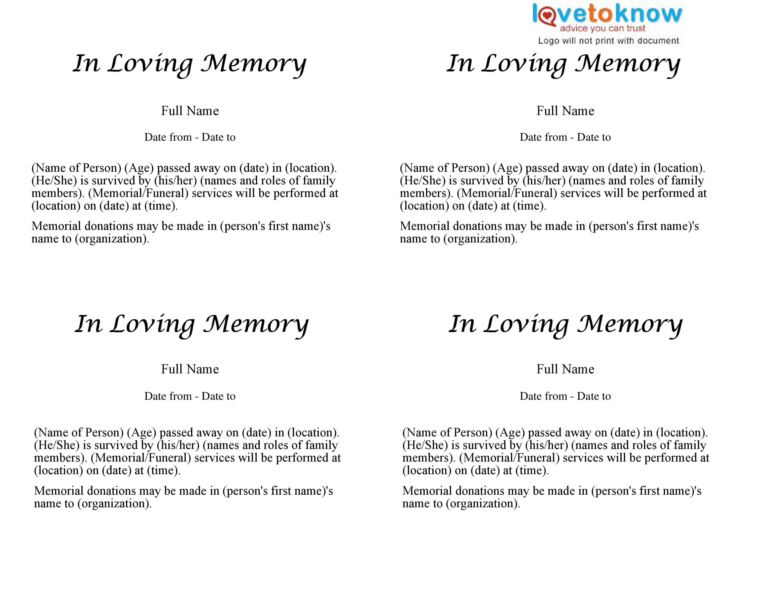 Printable Basic Obitary Template  Funeral Announcements Template
