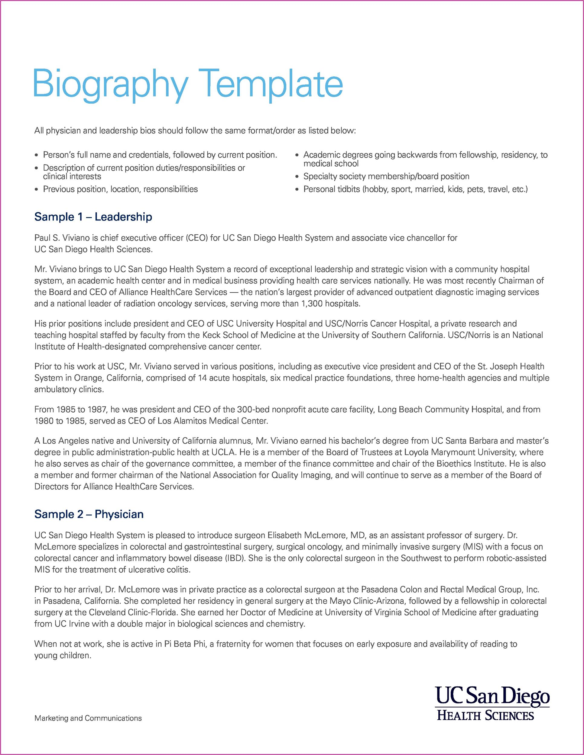 Biography Templates  Examples Personal Professional