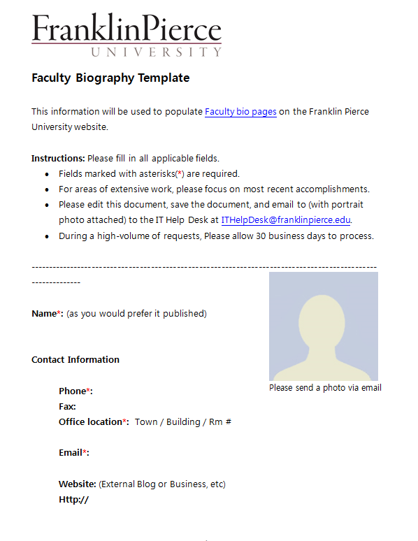 Free Biography Template 04