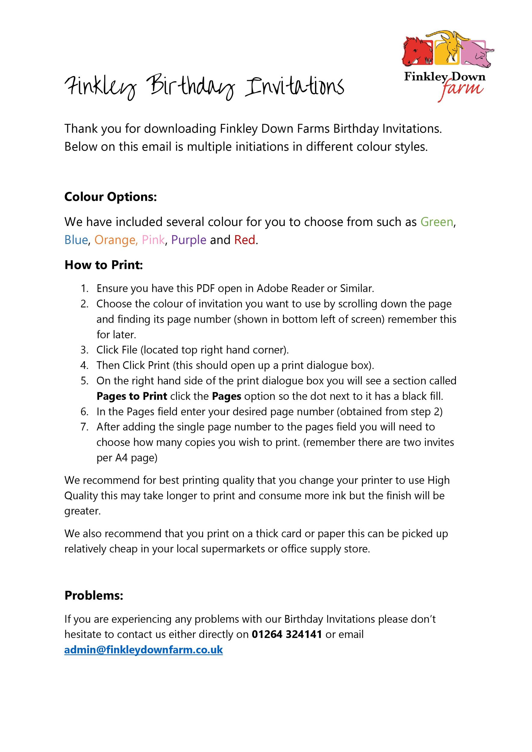 Free Birthday Invitation Template 18
