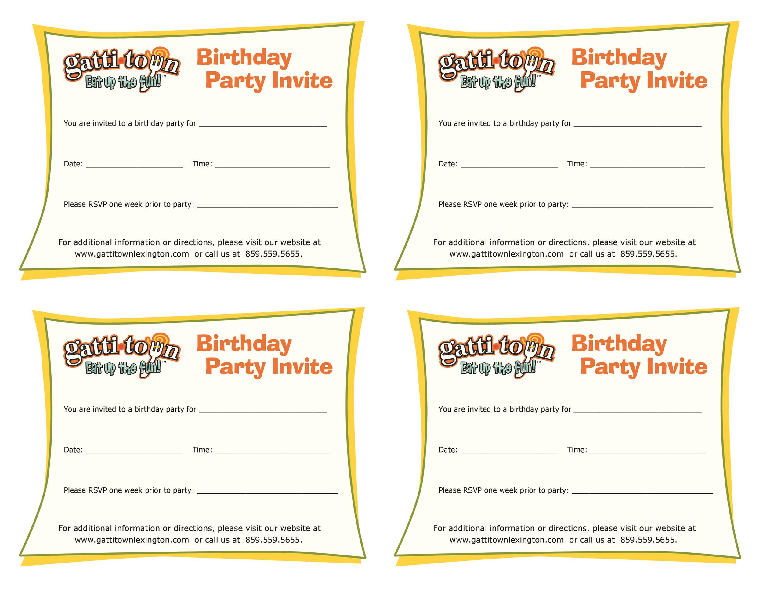 Printable Birthday Invitation Template 20  Party Rsvp Template