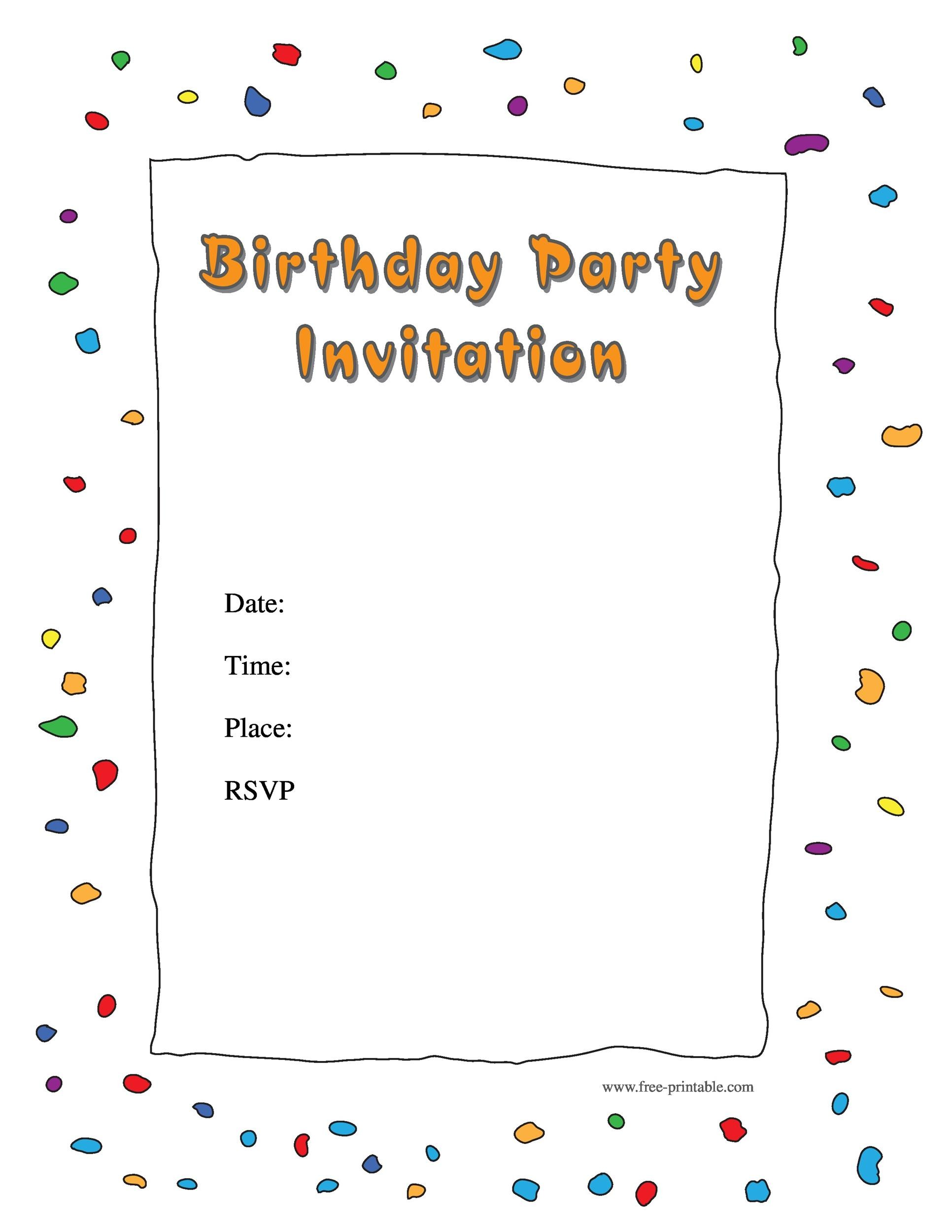 Printable Birthday Invitation Template 26  Free Template For Party Invitation