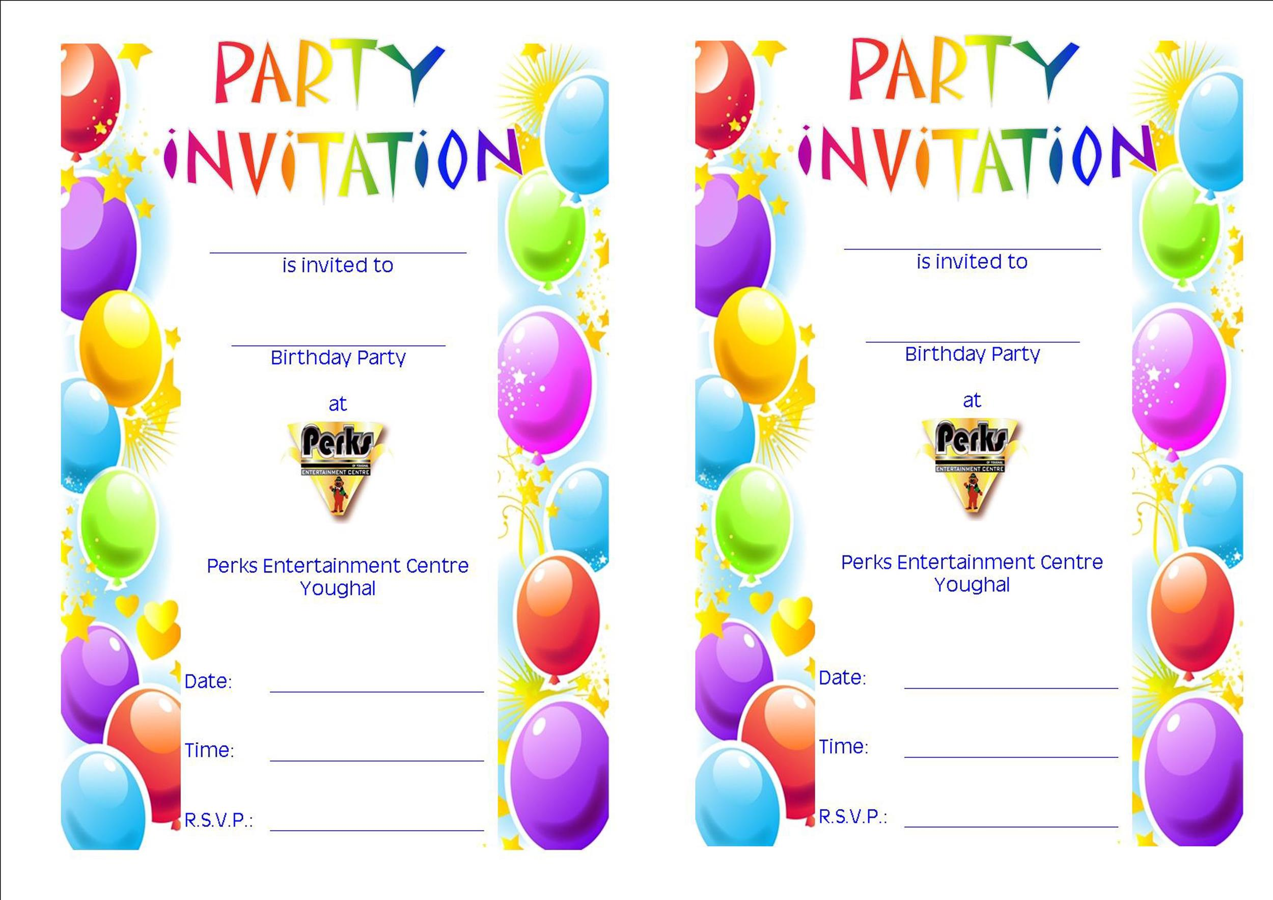 Free Birthday Party Invitation Templates  Template Lab