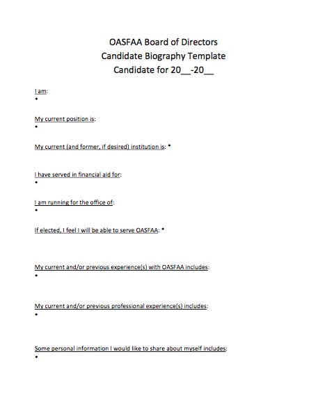 Free Candidate Biography Template