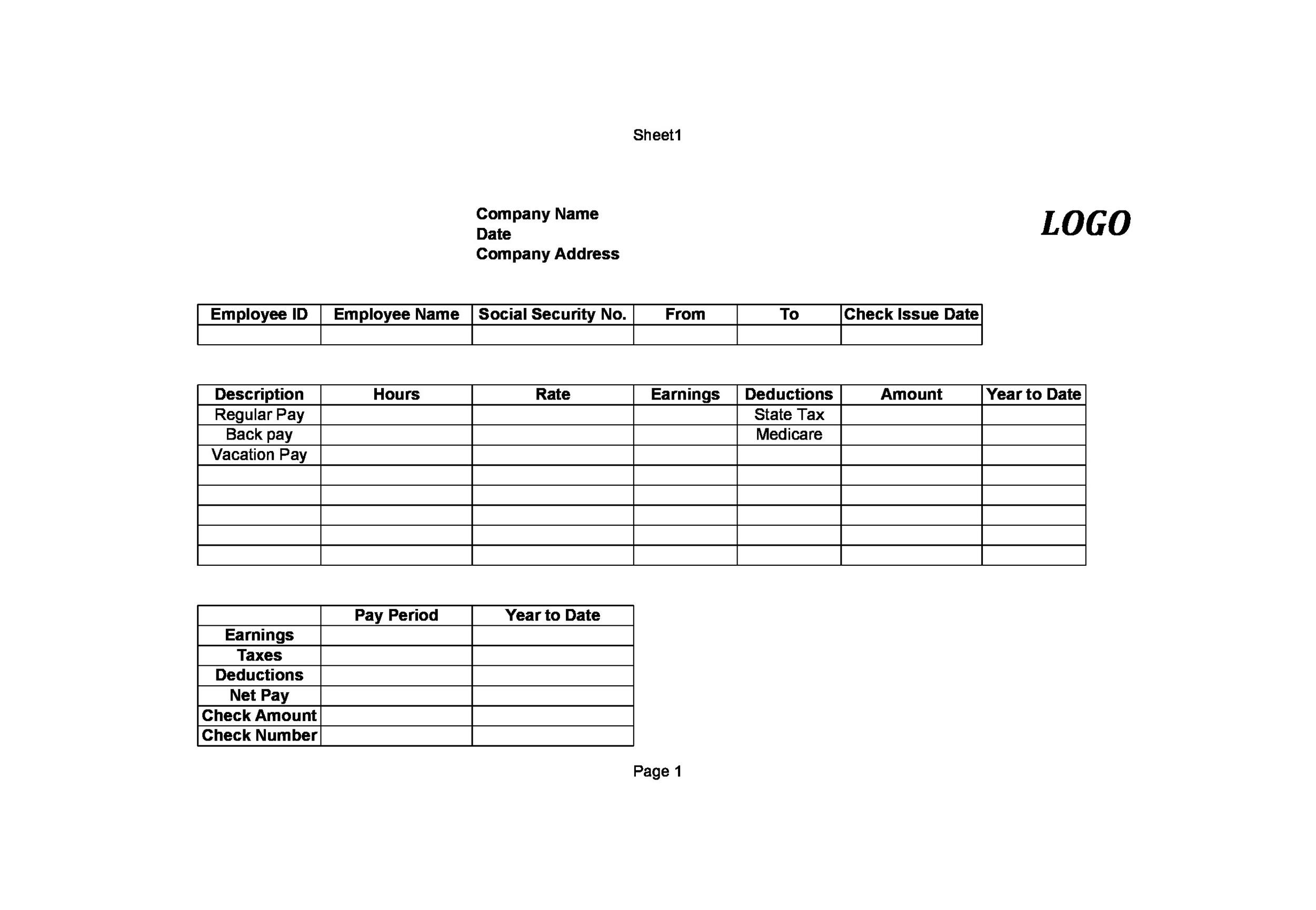 Printable Check Stub Template 02  Pay Statement Template