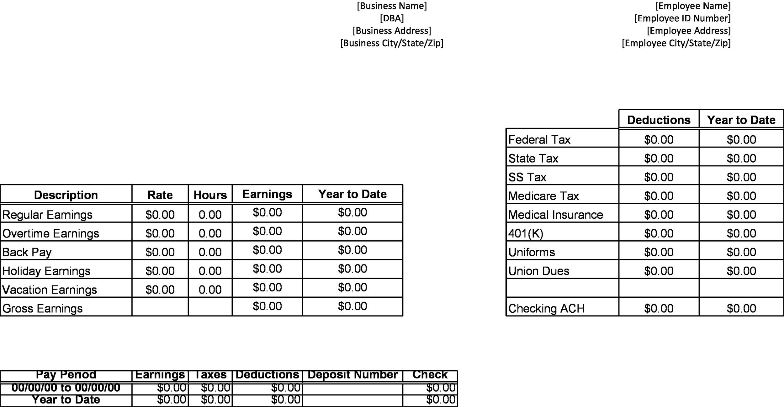 Great Pay Stub  Paycheck Stub Templates