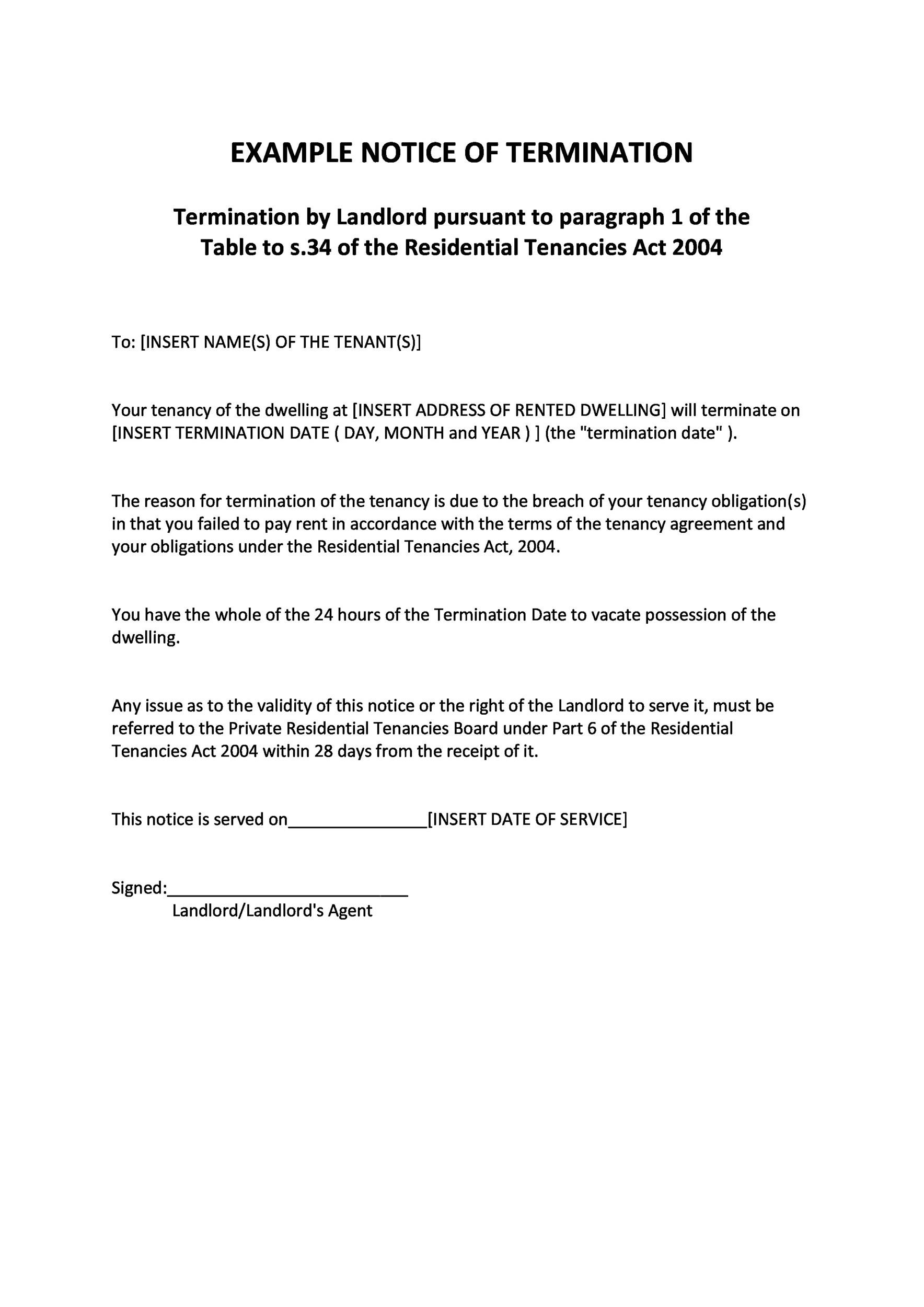Lease Termination Letter. Printable Sample Contract Termination