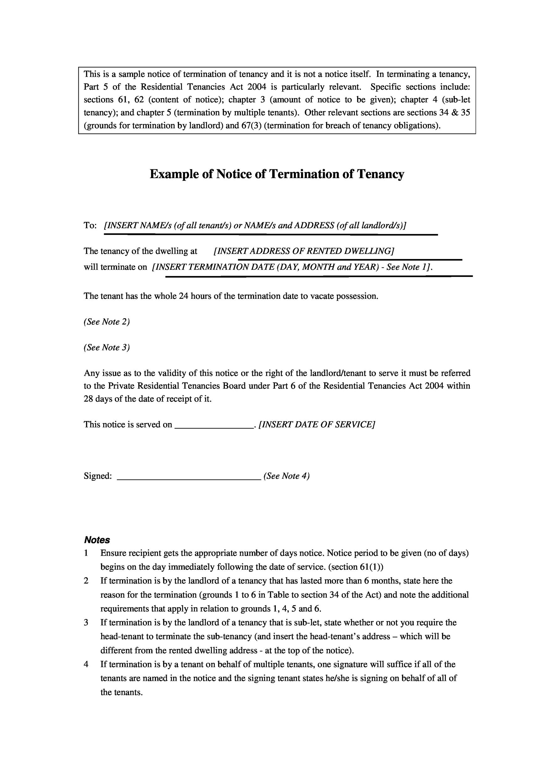 Free Example of Notice of Termination of Tenancy
