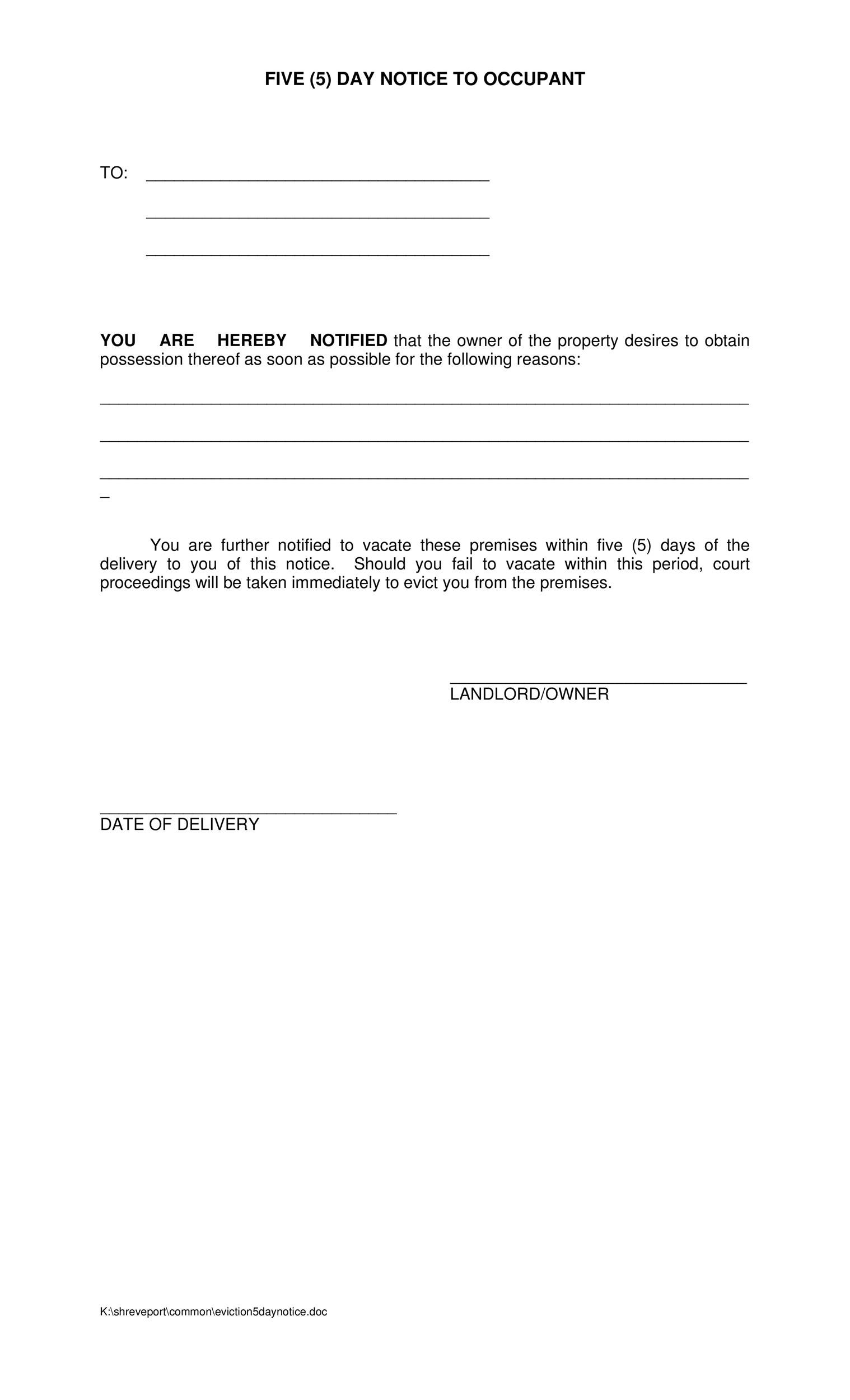 five day notice to occupant - Notice Of Lease Termination