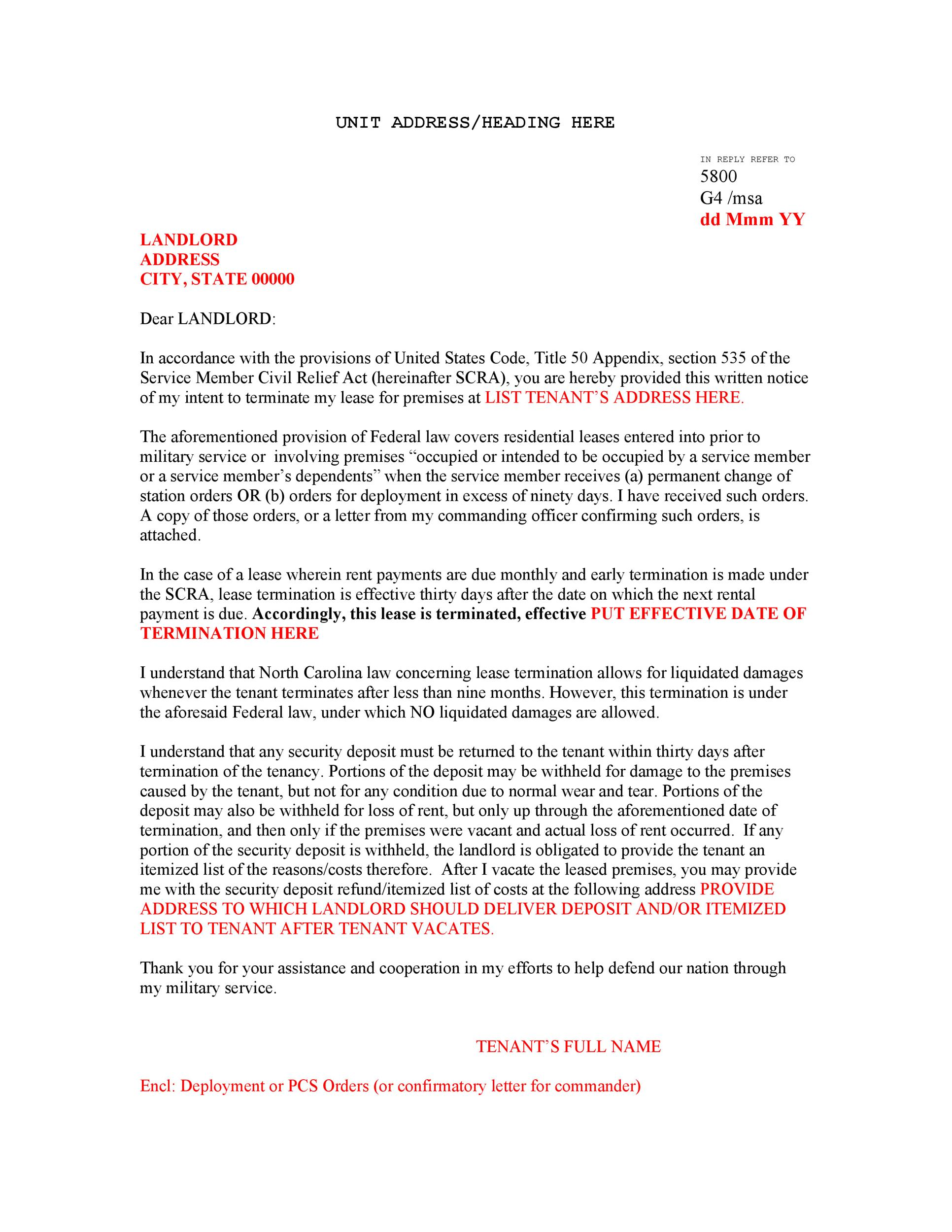 Printable Free Eviction Notice  Landlord Lease Termination Letter